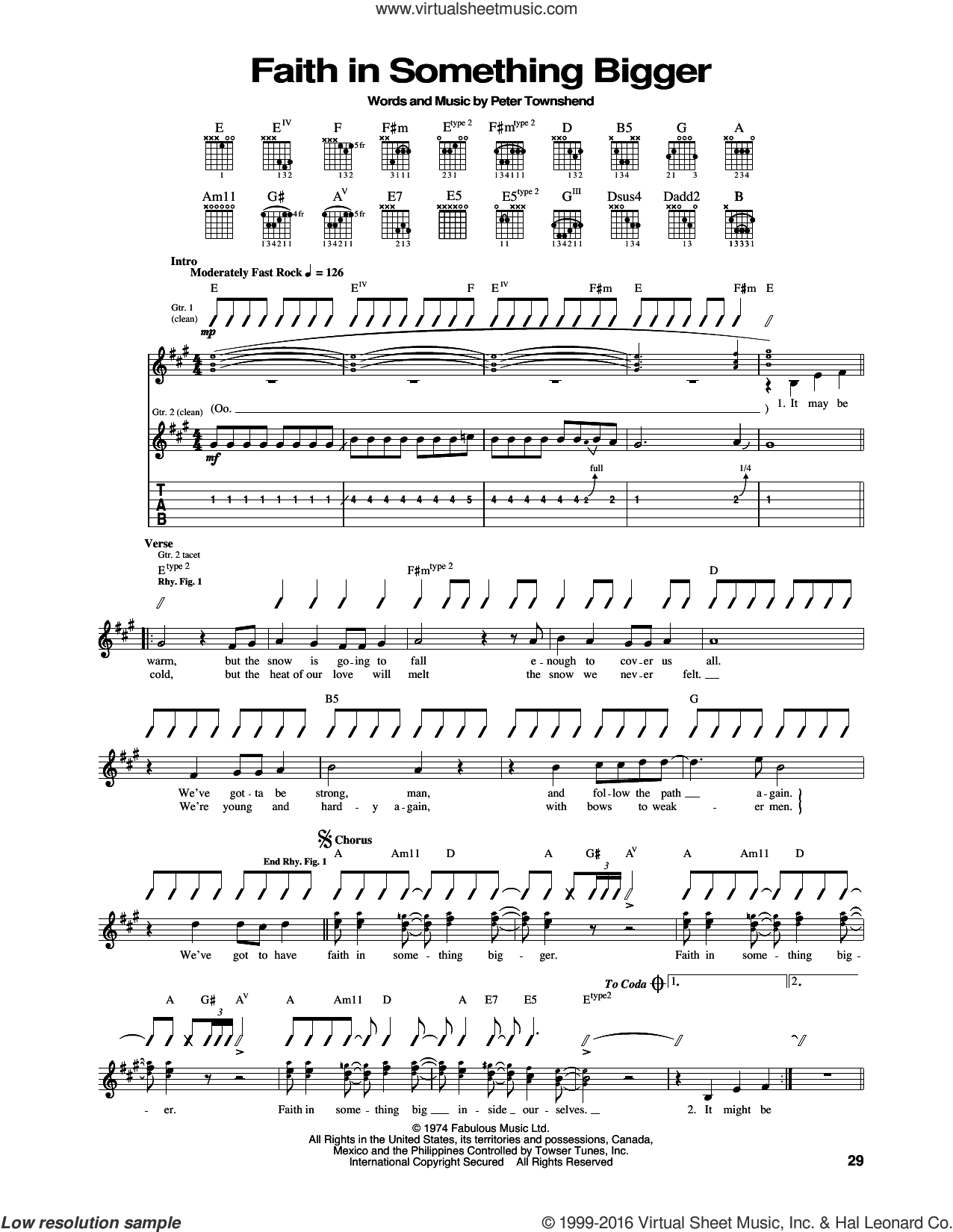 Faith In Something Bigger sheet music for guitar (tablature) by The Who and Pete Townshend, intermediate skill level