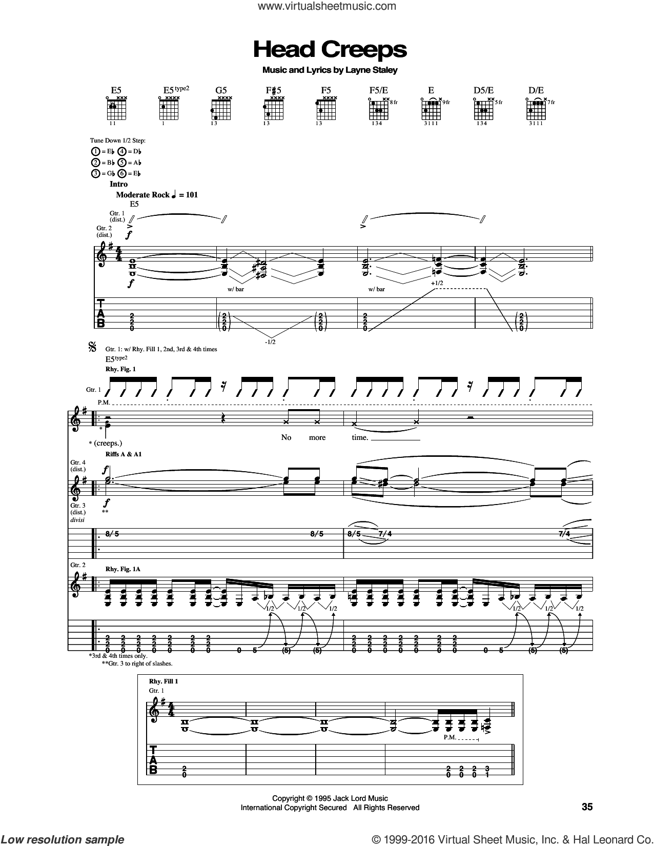 Head Creeps sheet music for guitar (tablature) by Alice In Chains and Layne Staley, intermediate skill level