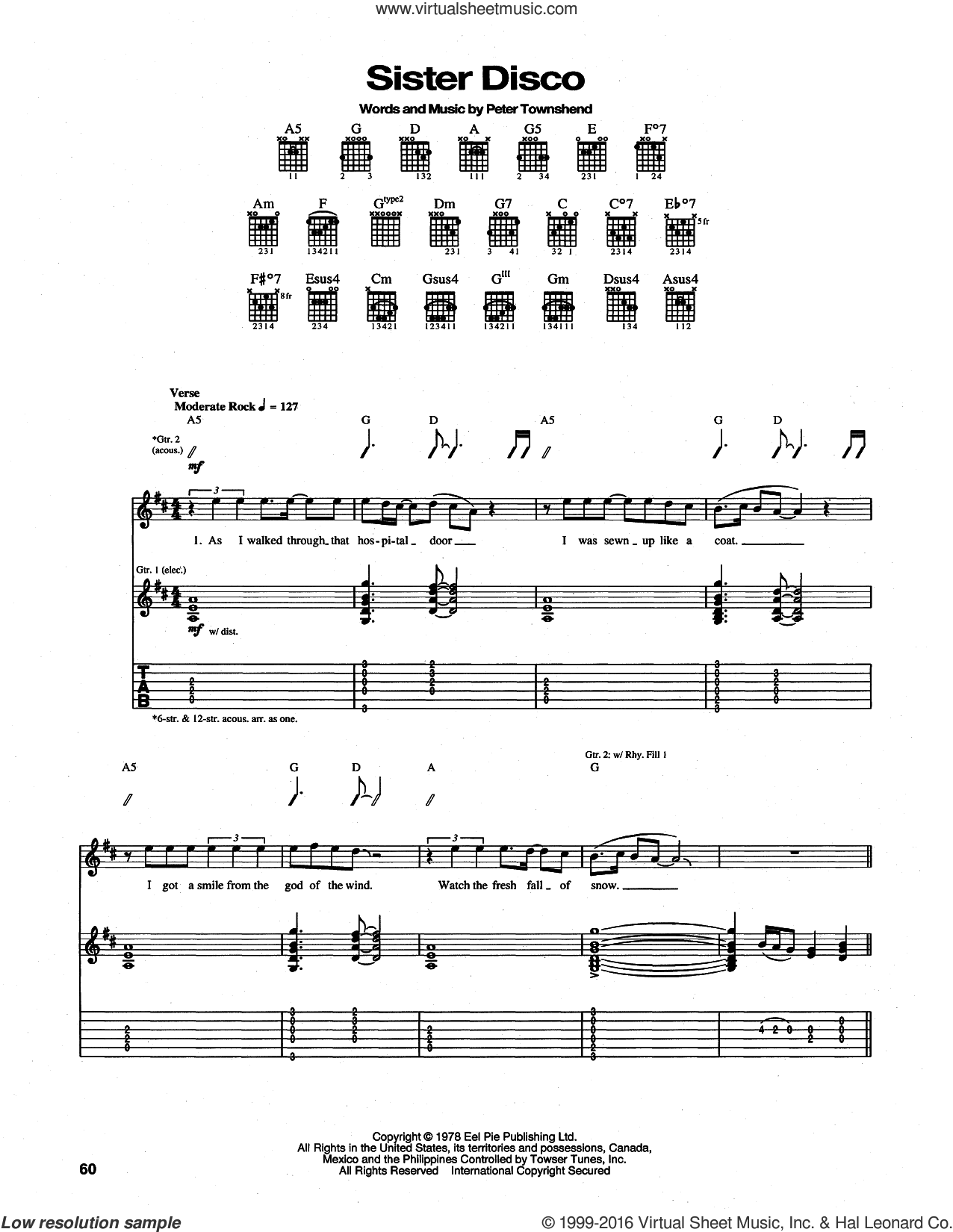 Sister Disco sheet music for guitar (tablature) by Pete Townshend and The Who. Score Image Preview.