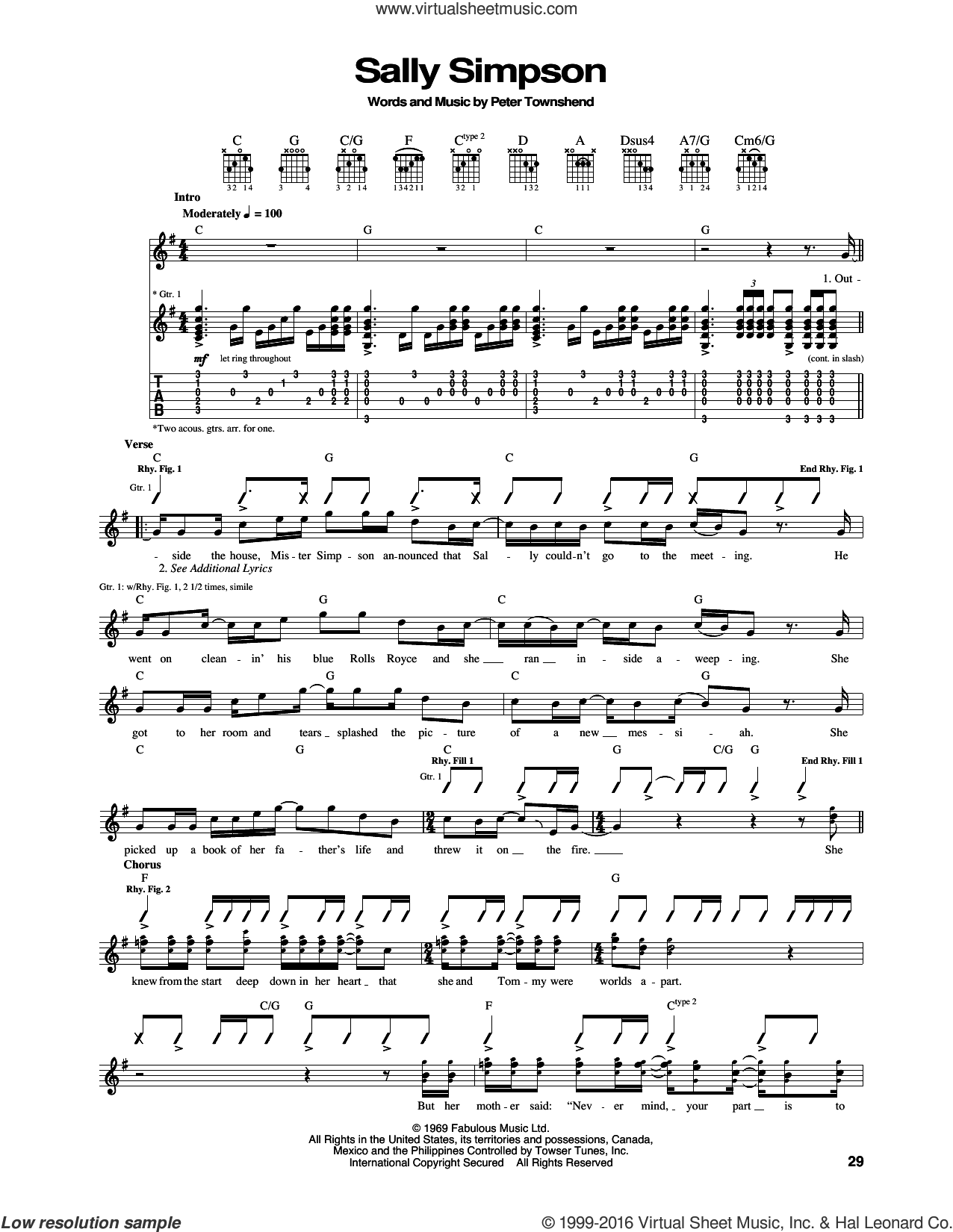 Sally Simpson sheet music for guitar (tablature) by Pete Townshend and The Who. Score Image Preview.