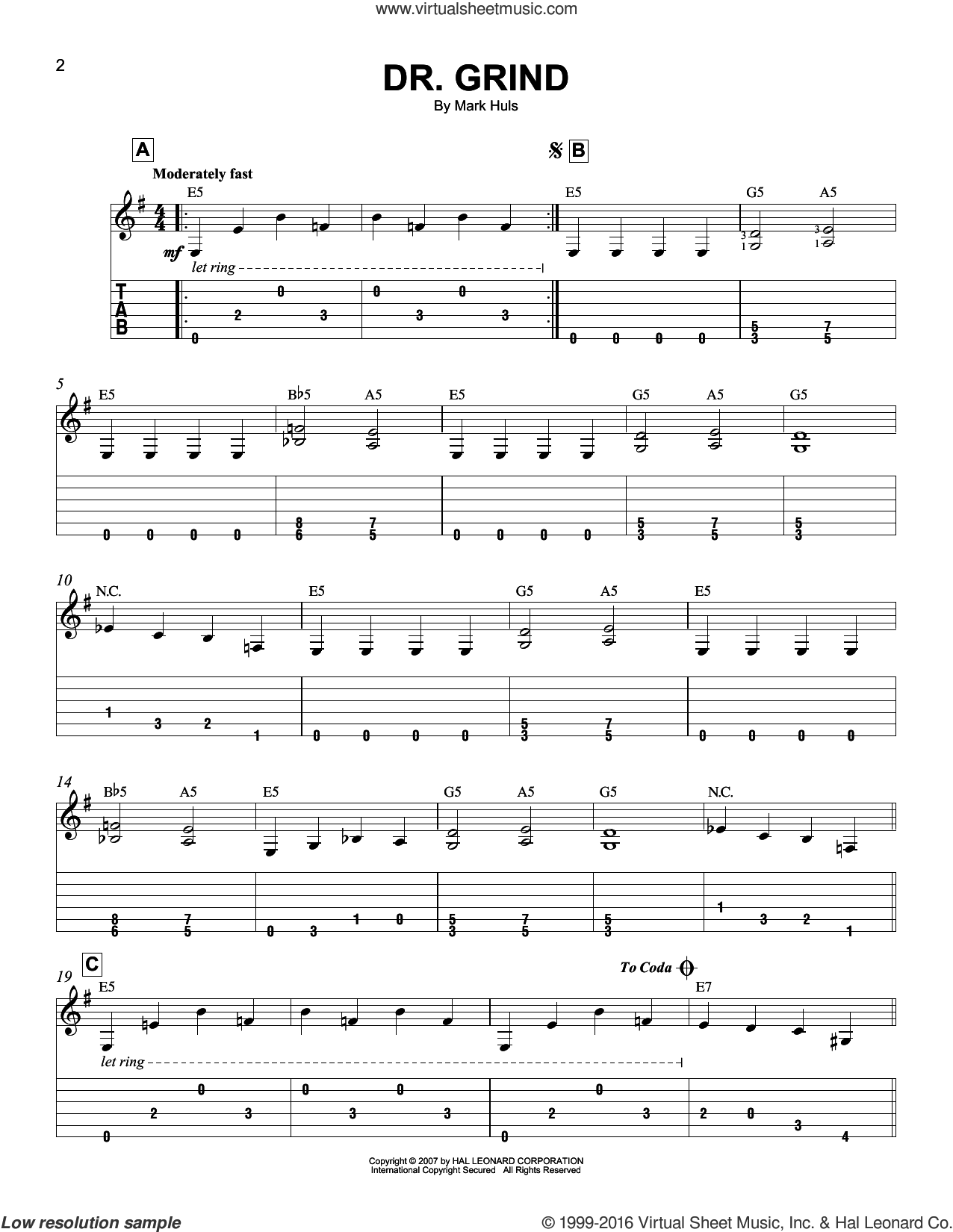 Dr. Grind sheet music for guitar solo (easy tablature) by Mark Huls, easy guitar (easy tablature)