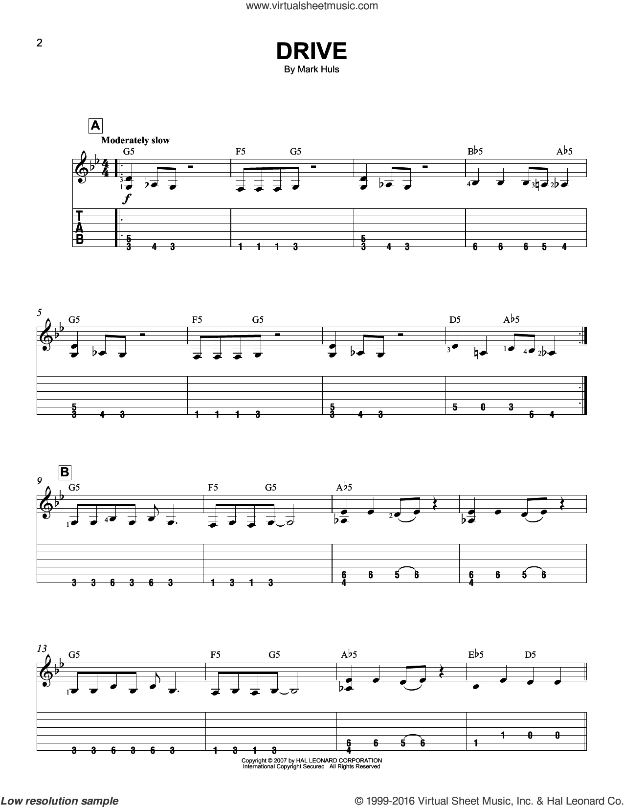 Drive sheet music for guitar solo (easy tablature) by Mark Huls. Score Image Preview.