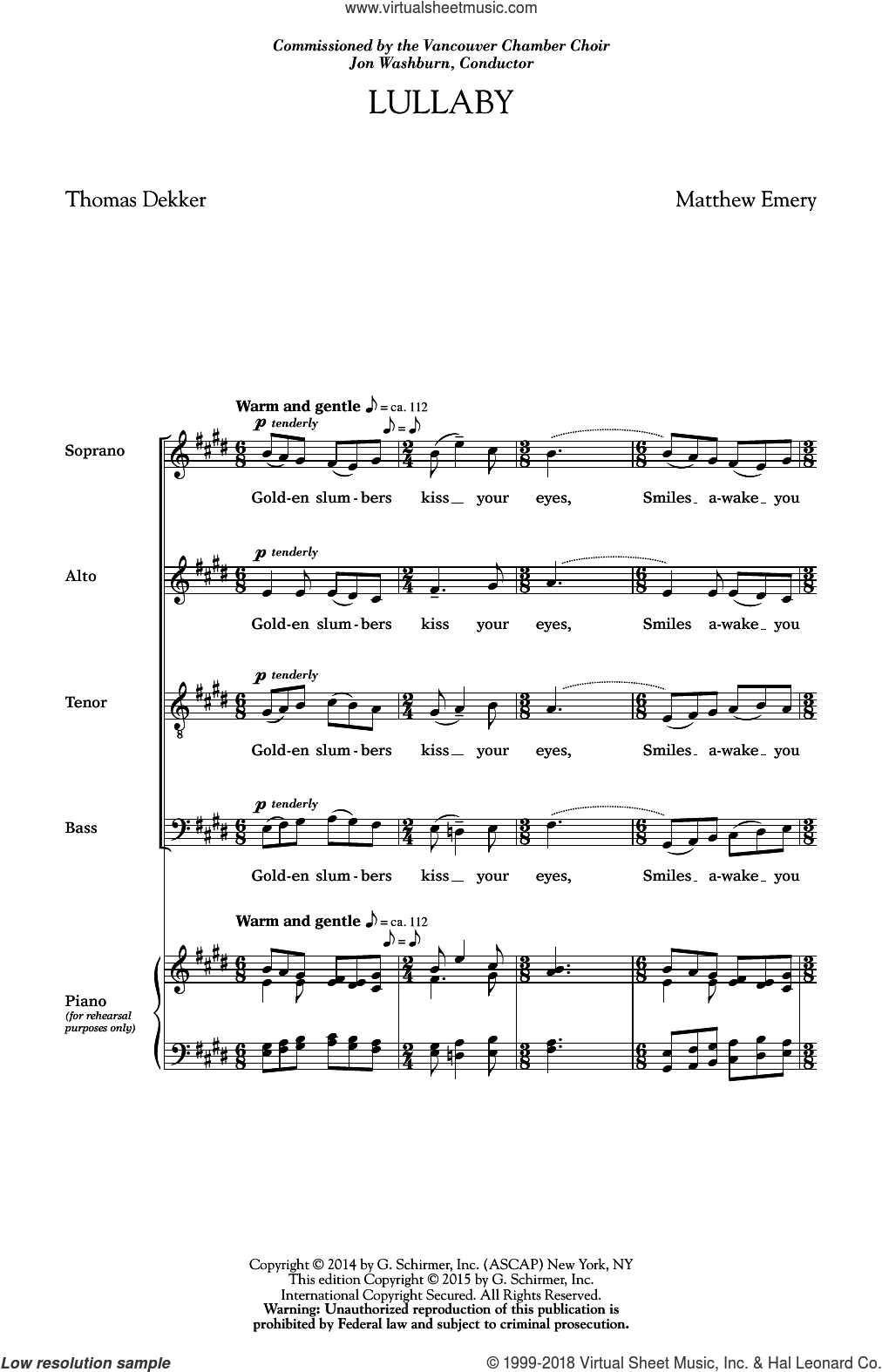 Lullaby sheet music for choir and piano (SATB) by Matthew Emery and Thomas Dekker. Score Image Preview.