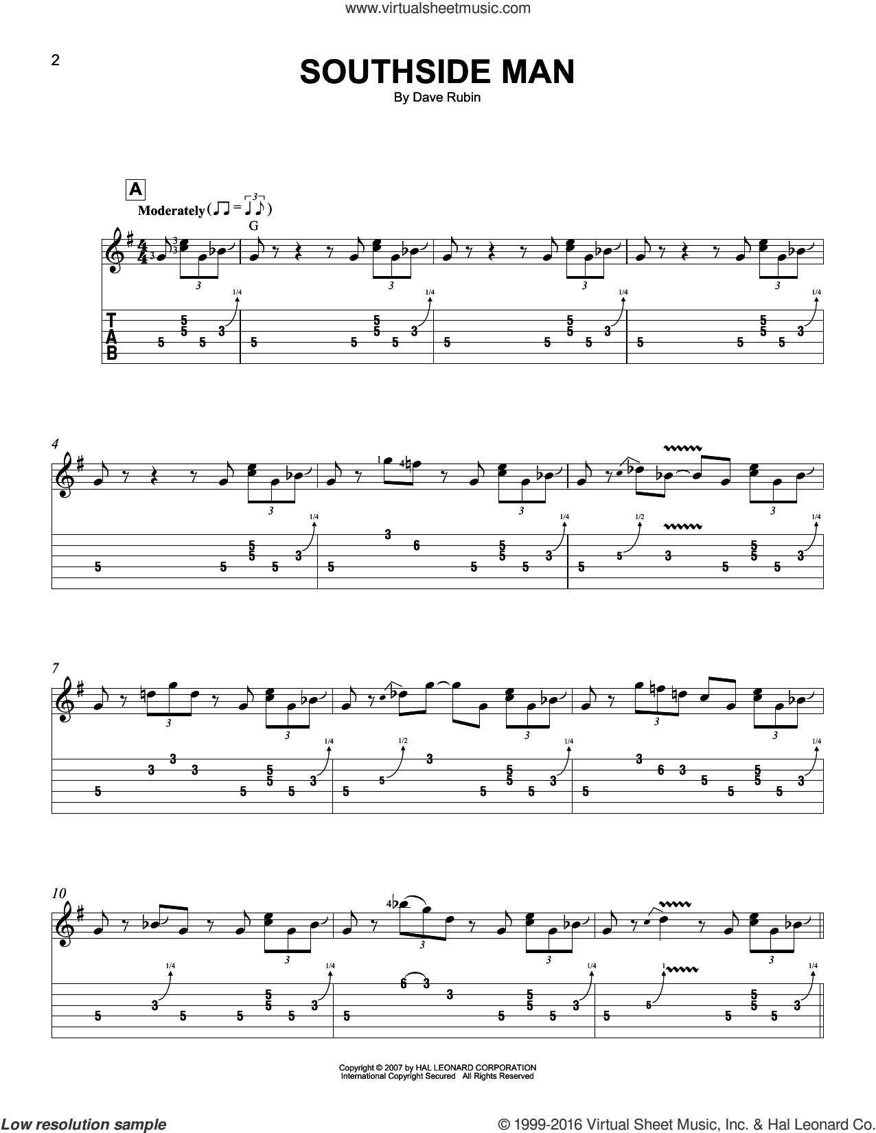 Southside Man sheet music for guitar solo (easy tablature) by Dave Rubin. Score Image Preview.