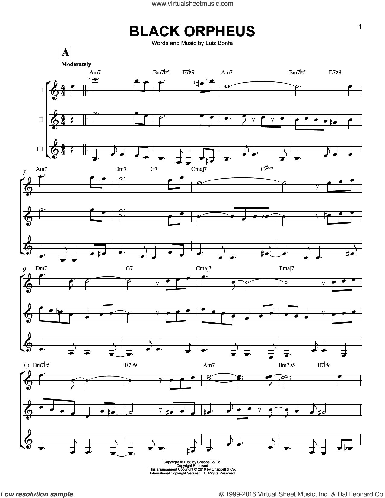 Black Orpheus sheet music for guitar ensemble by Luiz Bonfa, Stan Getz and Antonio Carlos Jobim. Score Image Preview.