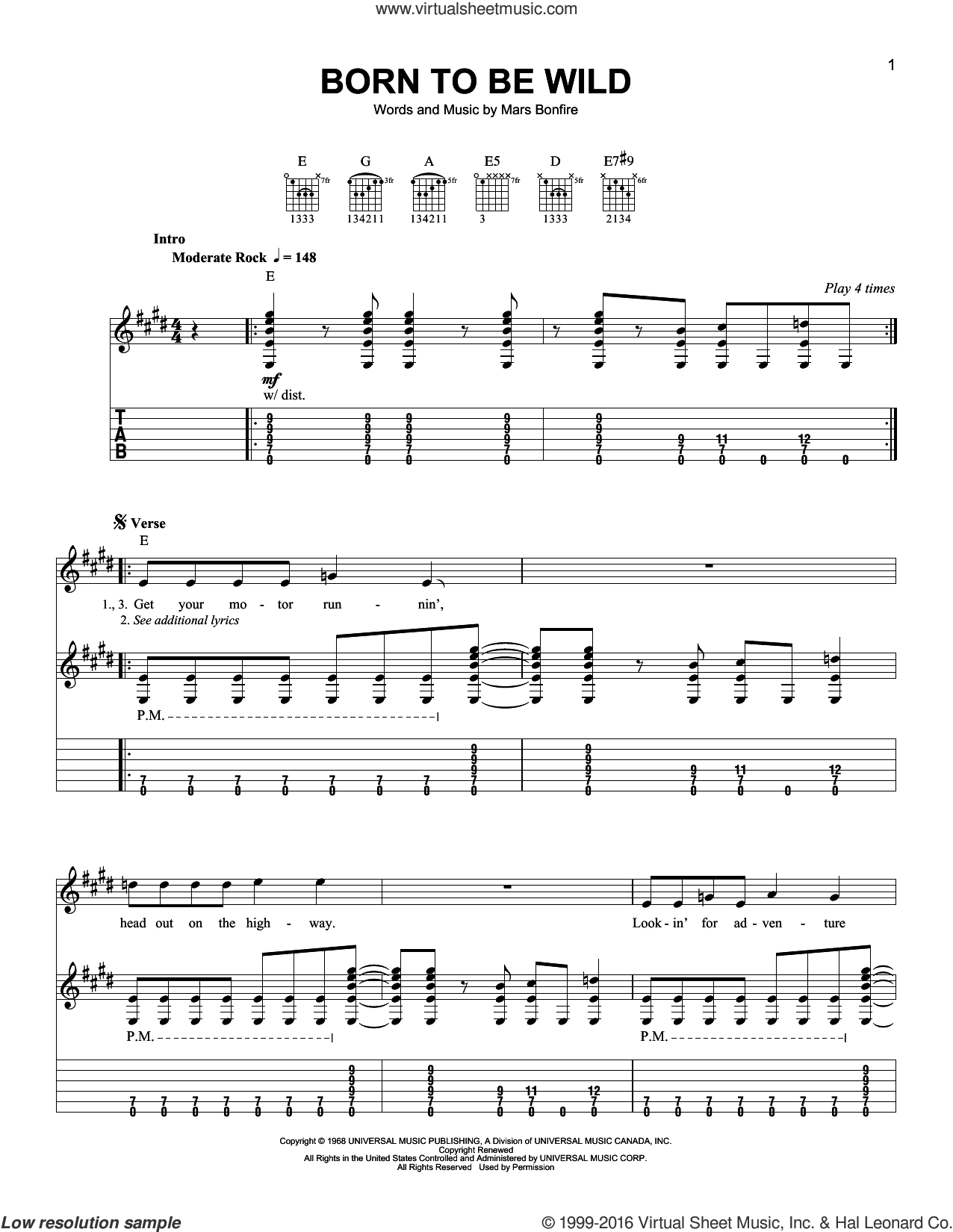 Born To Be Wild sheet music for guitar solo (easy tablature) by Steppenwolf and Mars Bonfire, easy guitar (easy tablature)