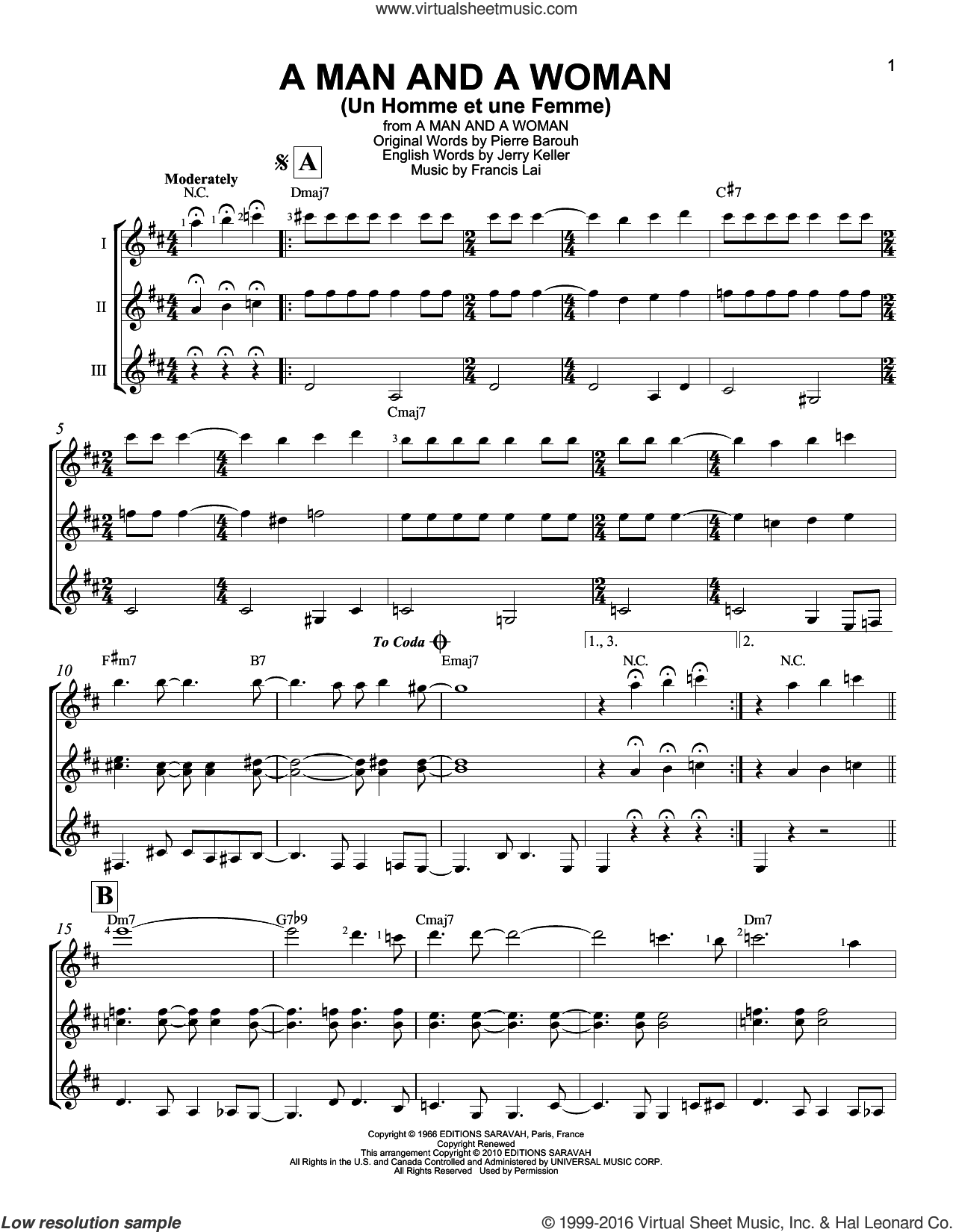 A Man And A Woman (Un Homme Et Une Femme) sheet music for guitar ensemble by Francis Lai and Herbie Mann and Tamiko Jones, intermediate guitar ensemble. Score Image Preview.