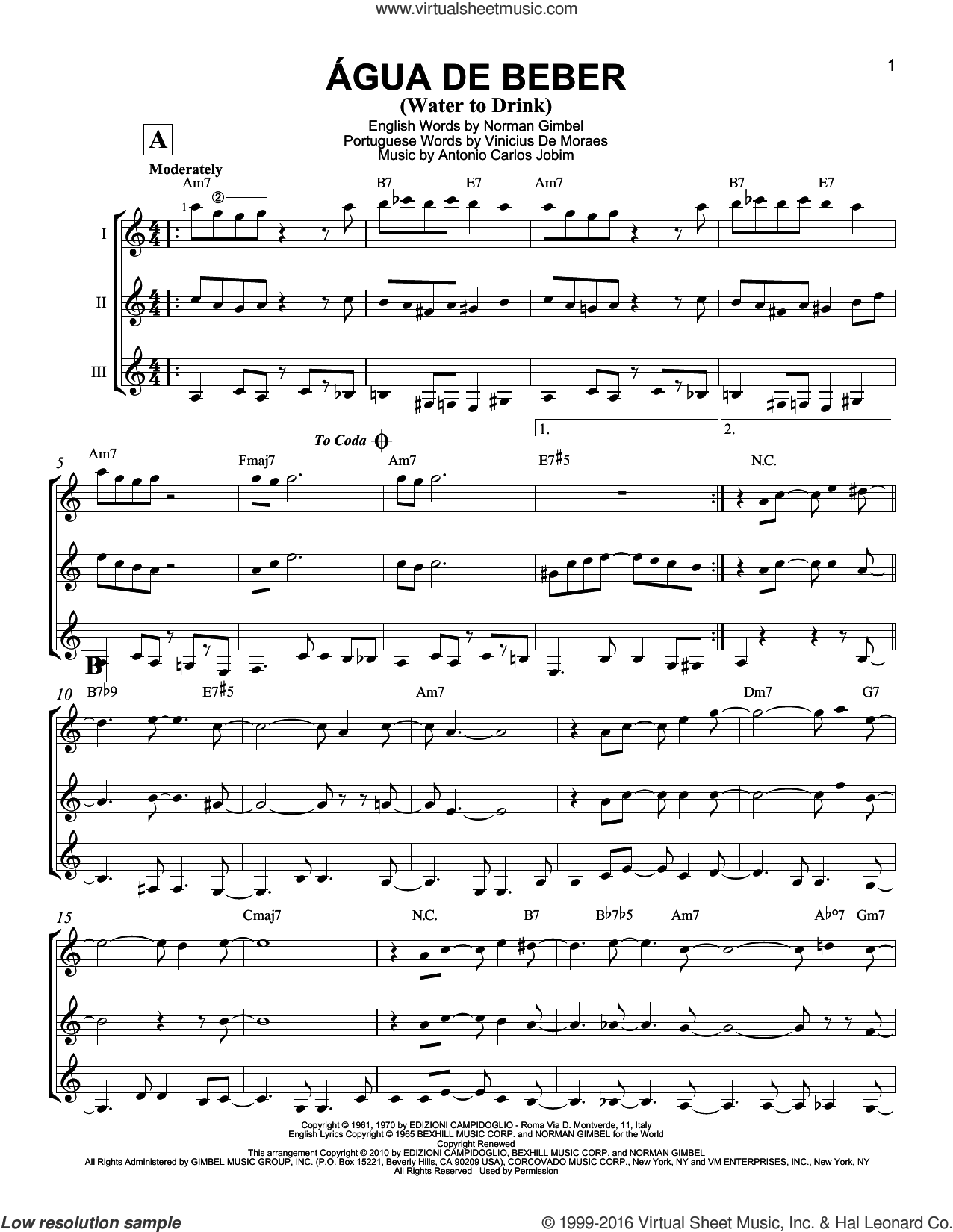 Agua De Beber (Water To Drink) sheet music for guitar ensemble by Antonio Carlos Jobim, Norman Gimbel and Vinicius de Moraes, intermediate skill level