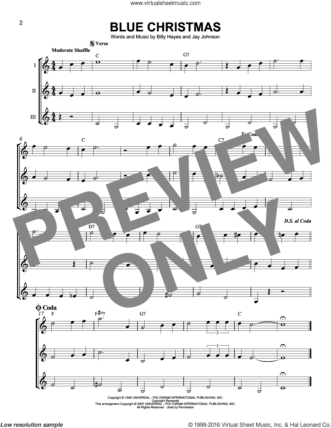 Blue Christmas sheet music for guitar ensemble by Billy Hayes, J Arnold and Jay Johnson, intermediate skill level