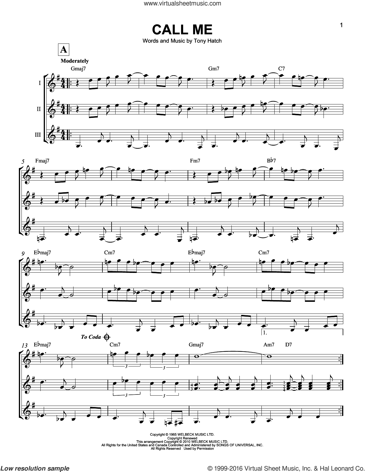 Call Me sheet music for guitar ensemble by Tony Hatch and California Chris Montez, intermediate. Score Image Preview.