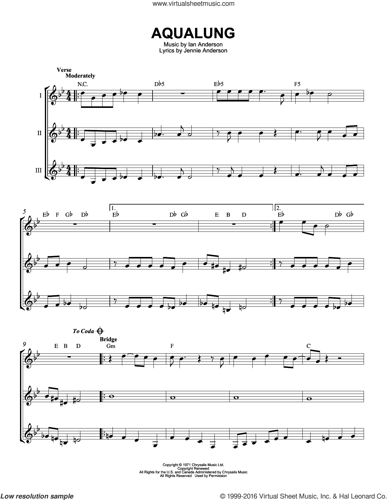 Aqualung sheet music for guitar ensemble by Jethro Tull, Ian Anderson and Jennie Anderson, intermediate skill level