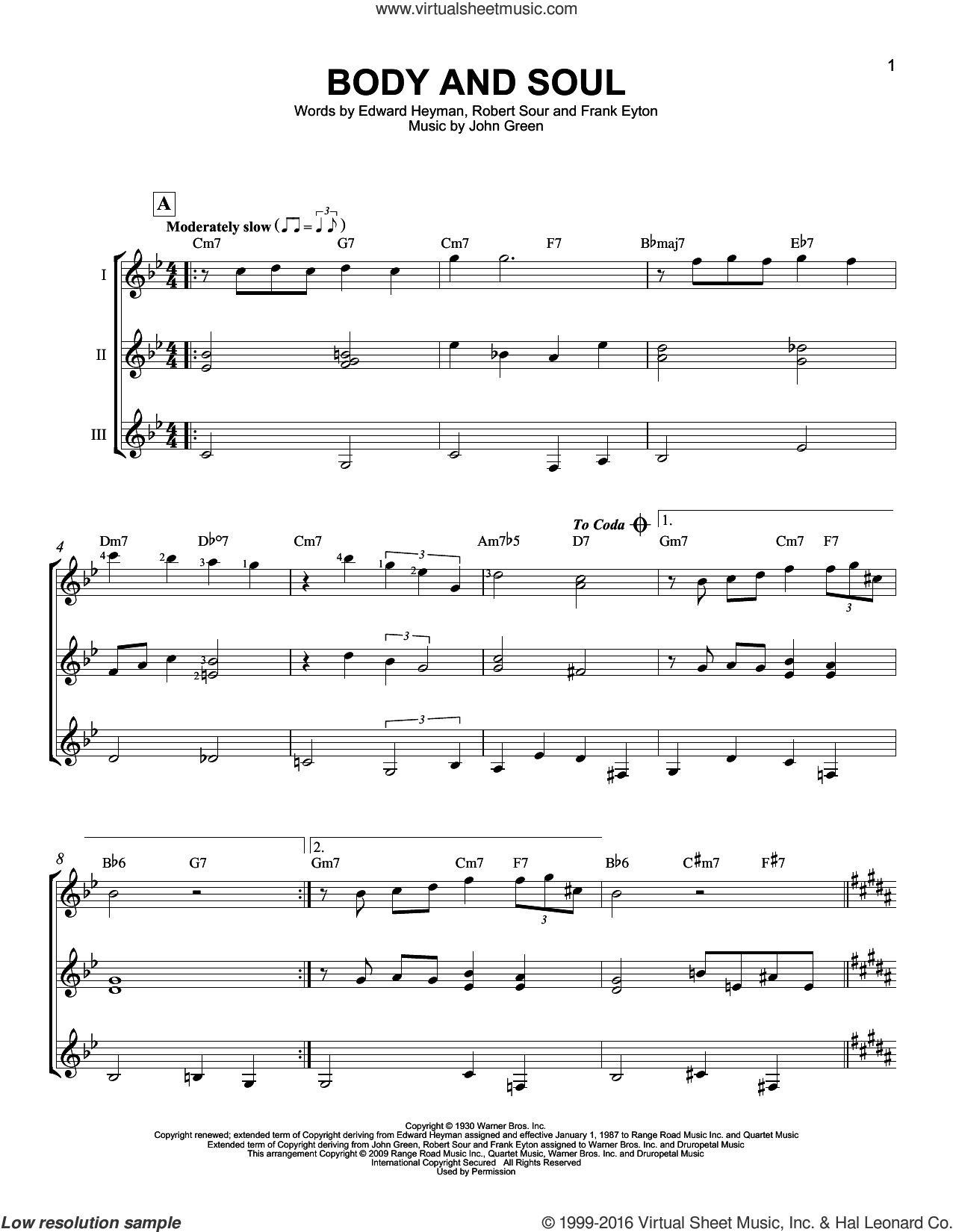 Body And Soul sheet music for guitar ensemble by Johnny Green, Tony Bennett & Amy Winehouse, Edward Heyman, Frank Eyton and Robert Sour, intermediate guitar ensemble. Score Image Preview.