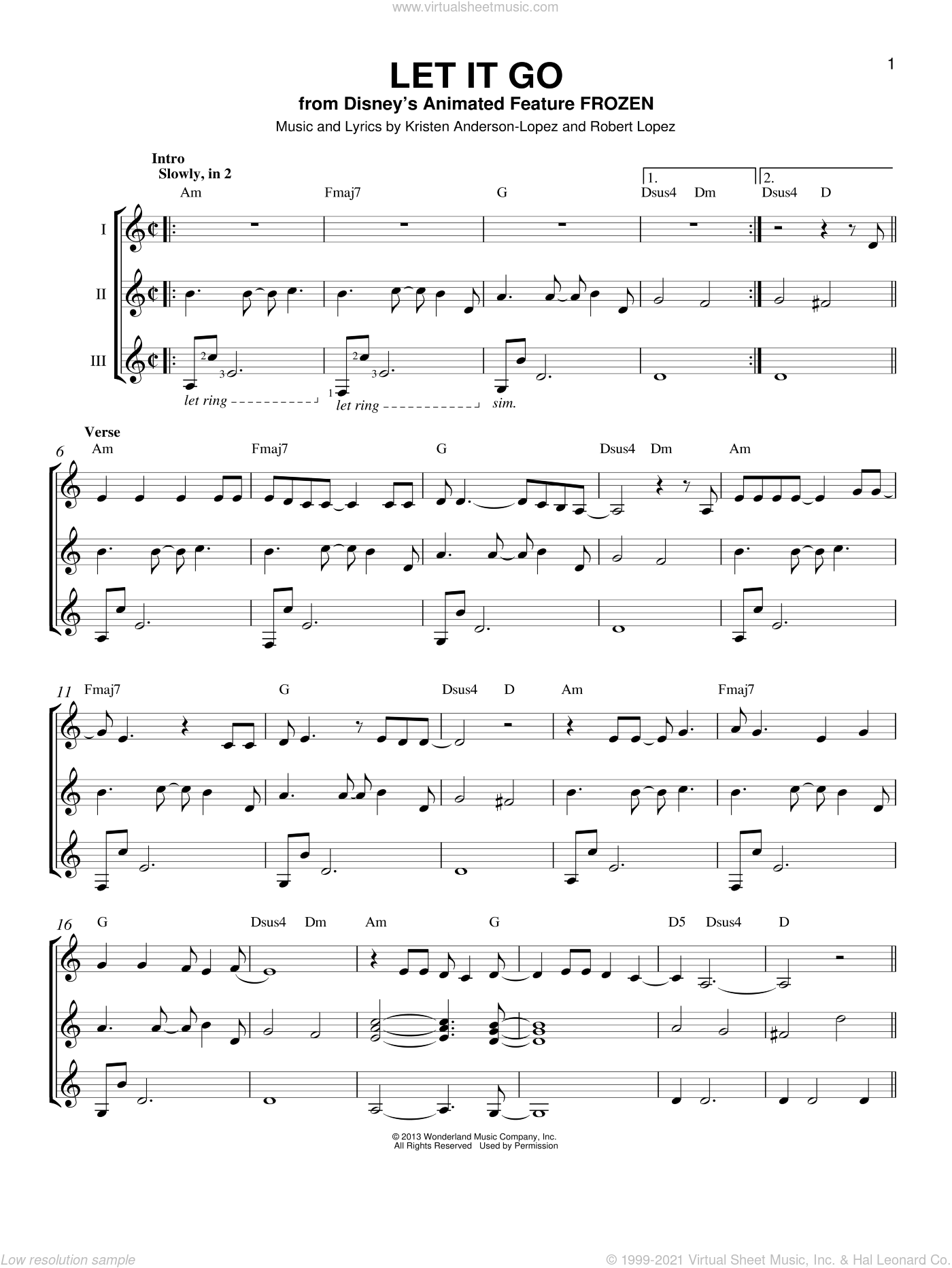 Let It Go sheet music for guitar ensemble by Robert Lopez, Idina Menzel and Kristen Anderson-Lopez. Score Image Preview.