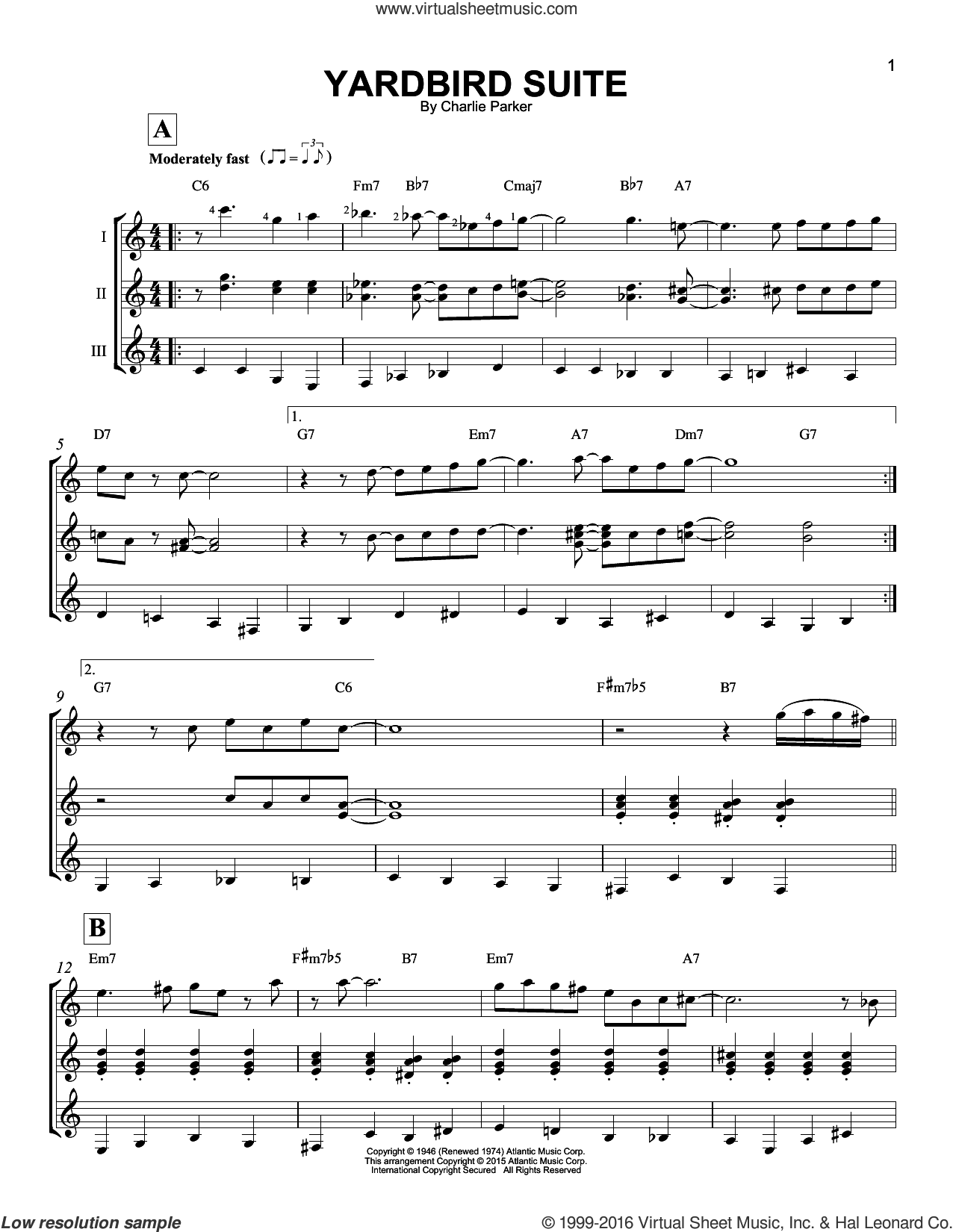 Yardbird Suite sheet music for guitar ensemble by Charlie Parker. Score Image Preview.