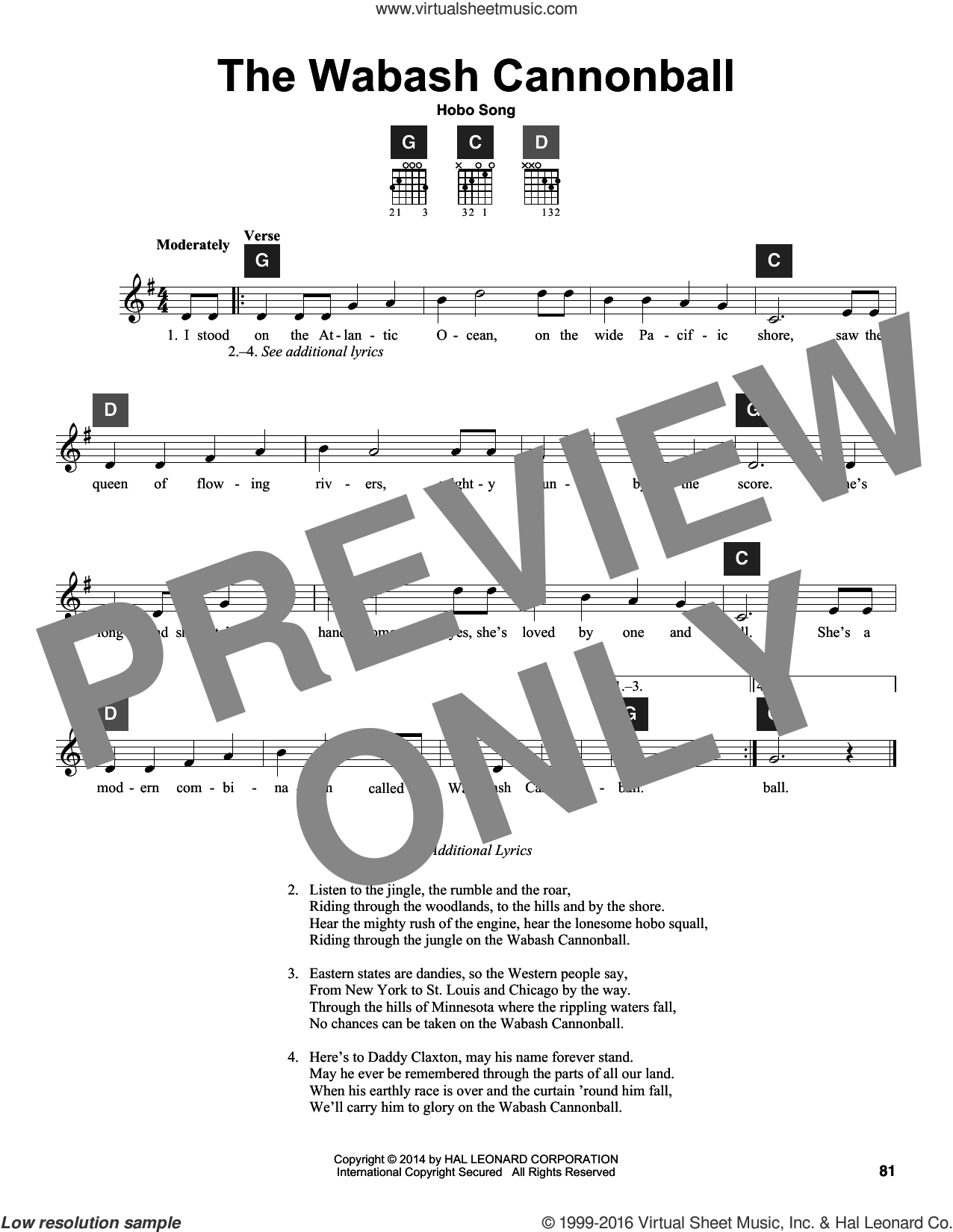 The Wabash Cannon Ball sheet music for guitar solo (ChordBuddy system)  and Hobo Song. Score Image Preview.