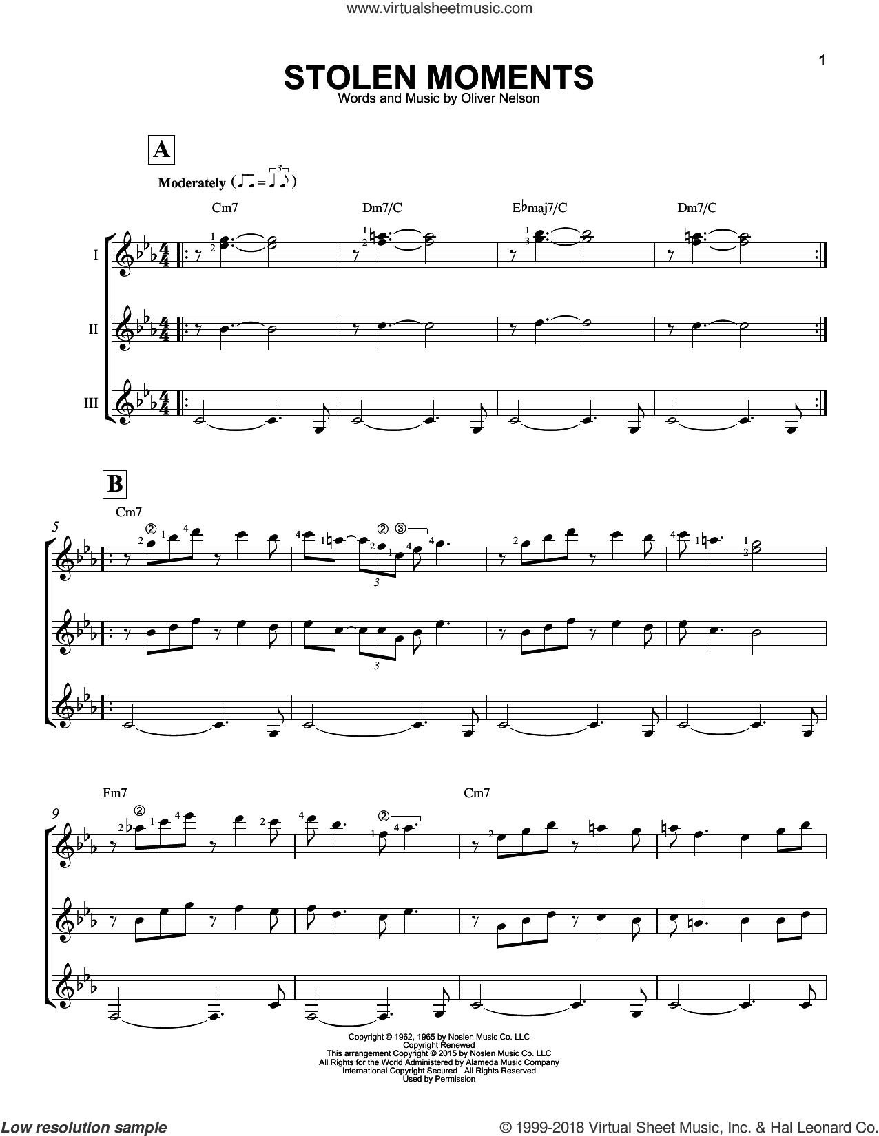 Stolen Moments sheet music for guitar ensemble by Oliver Nelson, intermediate skill level