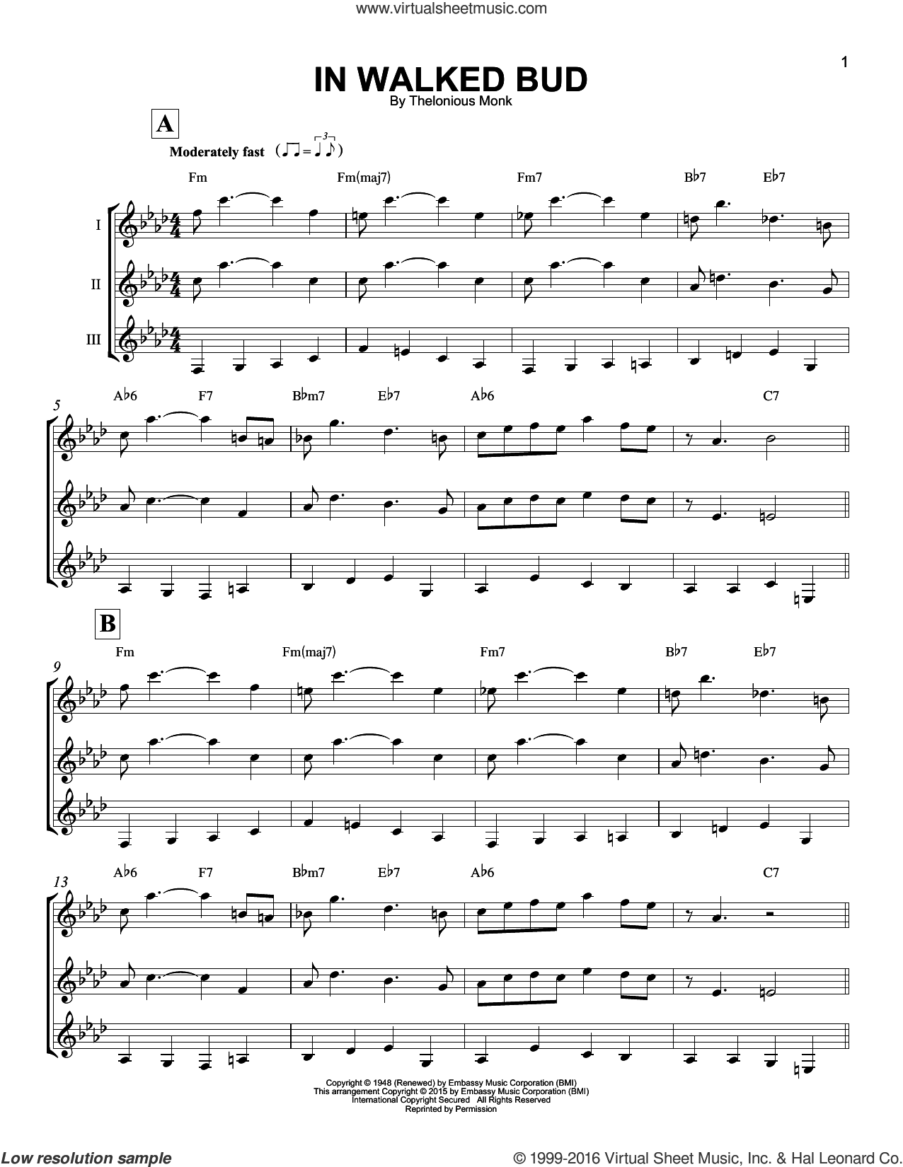 In Walked Bud sheet music for guitar ensemble by Thelonious Monk. Score Image Preview.
