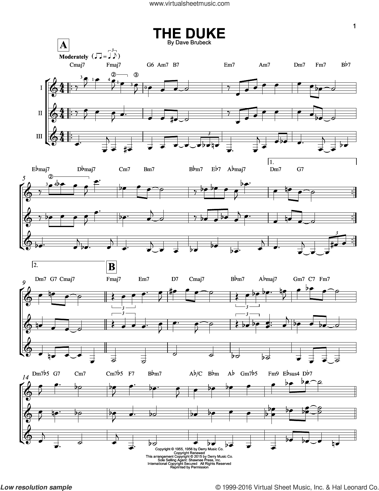 The Duke sheet music for guitar ensemble by Dave Brubeck. Score Image Preview.
