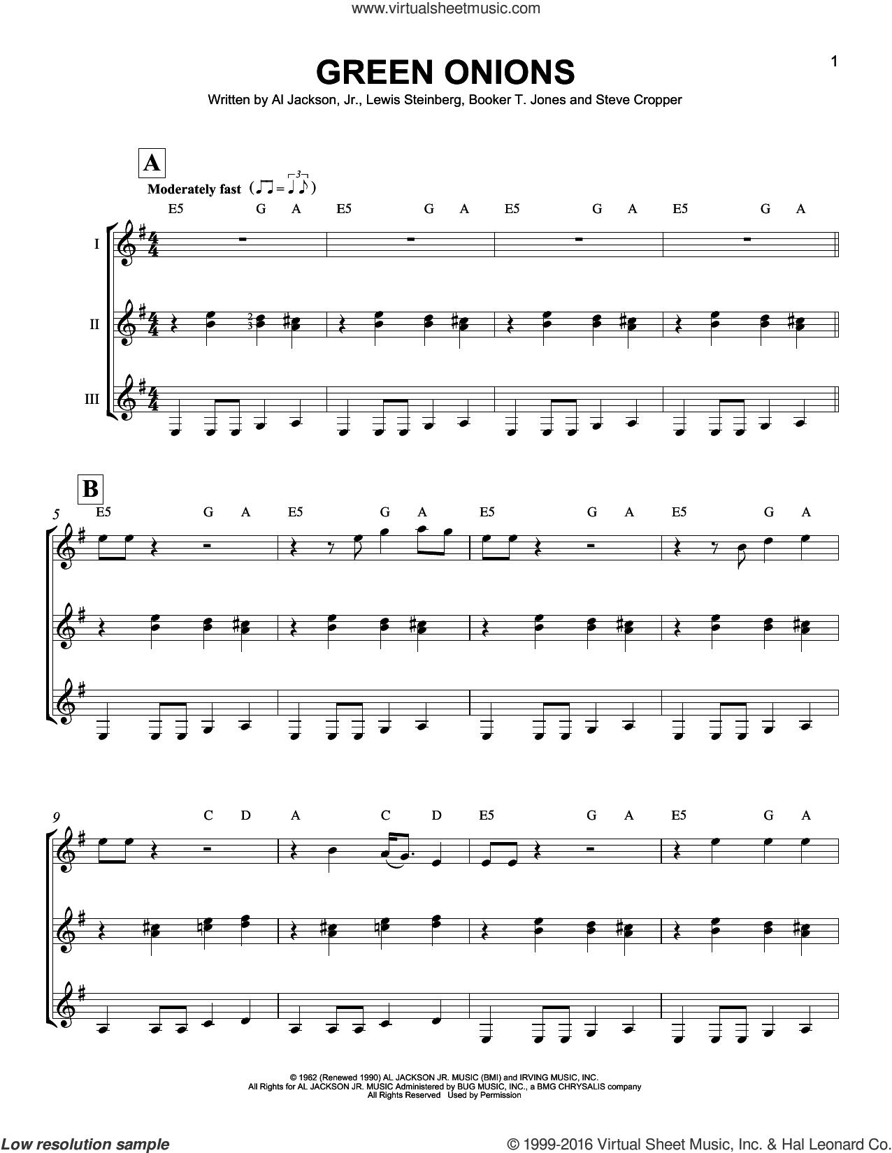 Green Onions sheet music for guitar ensemble by Booker T. & The MG's, Al Jackson, Jr., Booker T. Jones, Lewis Steinberg and Steve Cropper, intermediate skill level