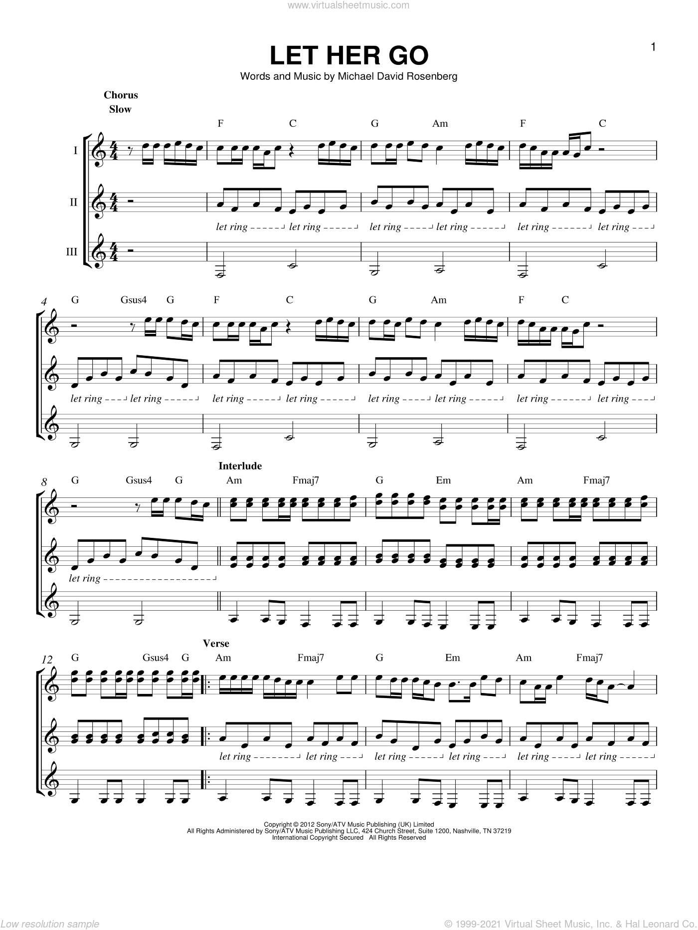 Let Her Go sheet music for guitar ensemble by Passenger and Michael David Rosenberg, intermediate skill level