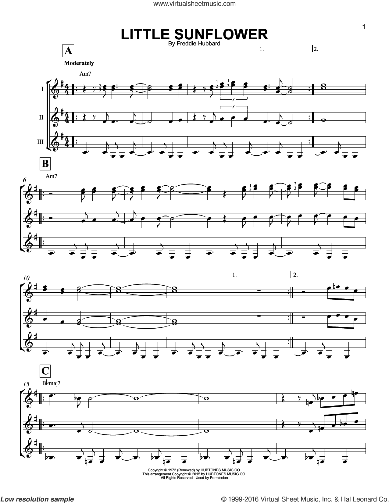 Little Sunflower sheet music for guitar ensemble by Freddie Hubbard, intermediate. Score Image Preview.