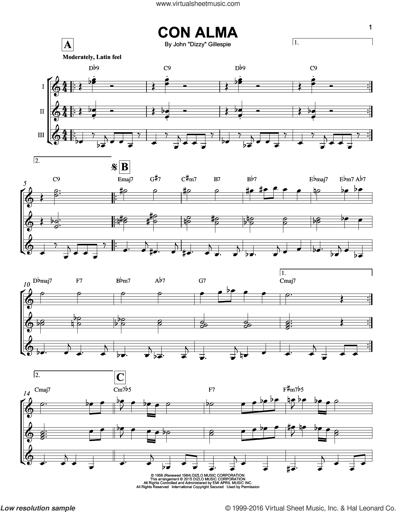 Con Alma sheet music for guitar ensemble by Dizzy Gillespie, intermediate skill level