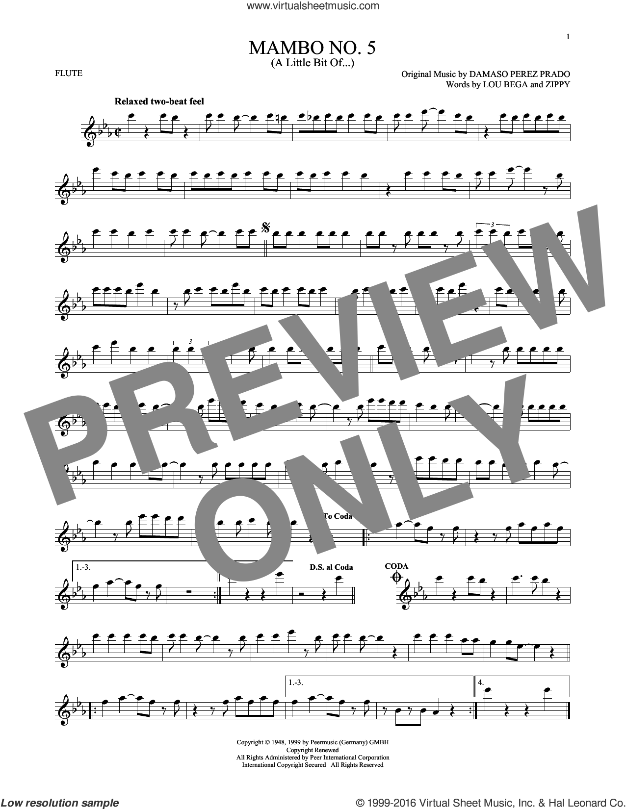 Mambo No. 5 (A Little Bit Of...) sheet music for flute solo by Lou Bega, Damaso Perez Prado and Zippy, intermediate. Score Image Preview.