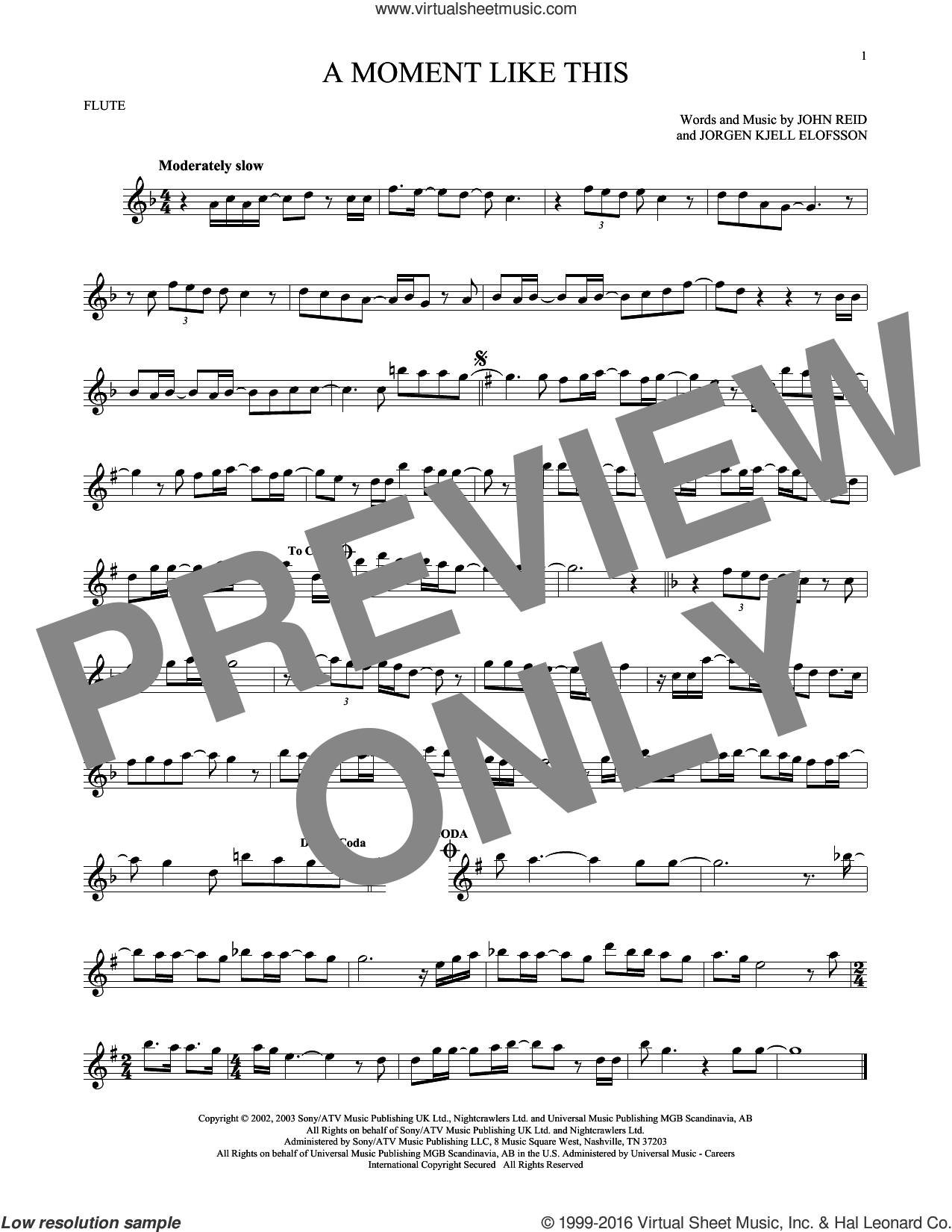 A Moment Like This sheet music for flute solo by Kelly Clarkson, John Reid and Jorgen Elofsson, intermediate skill level