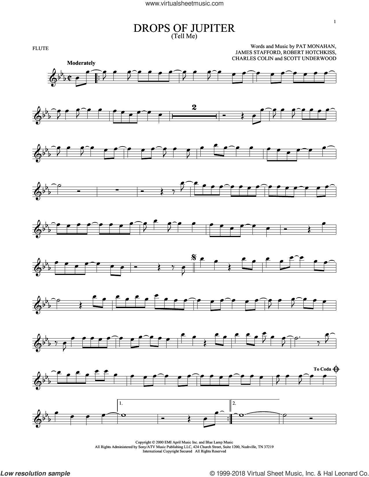 Drops Of Jupiter (Tell Me) sheet music for flute solo by Train, Charles Colin, James Stafford, Pat Monahan, Robert Hotchkiss and Scott Underwood, intermediate skill level