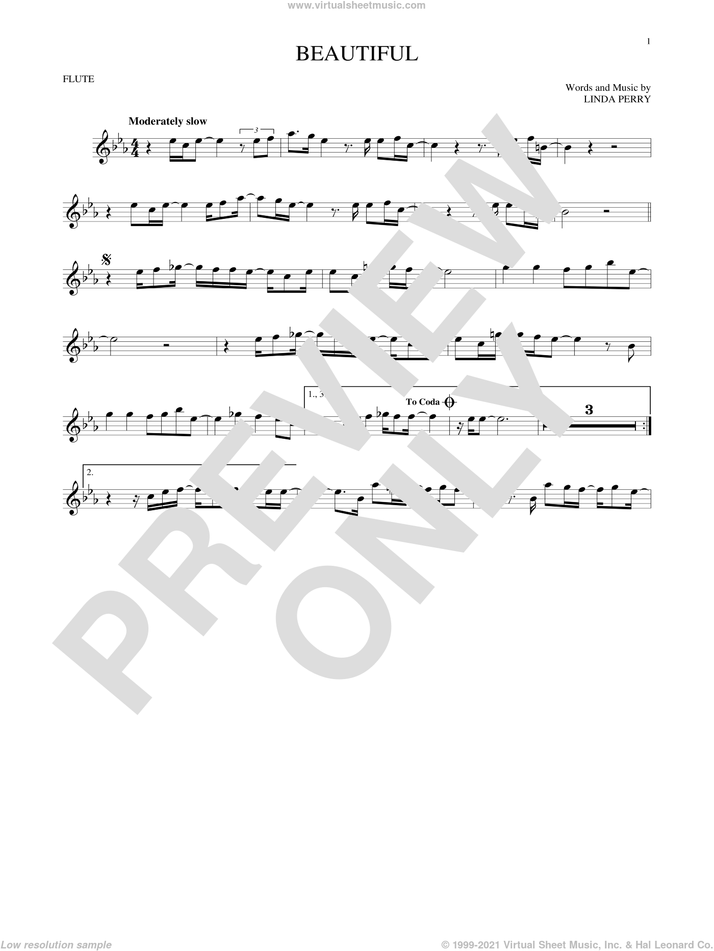 Beautiful sheet music for flute solo by Christina Aguilera, Christina Aguilera & Beverly McClellan and Linda Perry, intermediate skill level