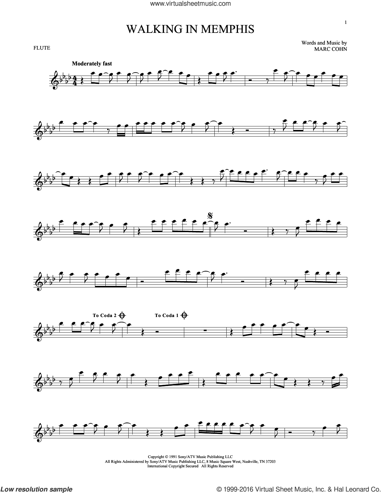 Walking In Memphis sheet music for flute solo by Marc Cohn and Lonestar. Score Image Preview.