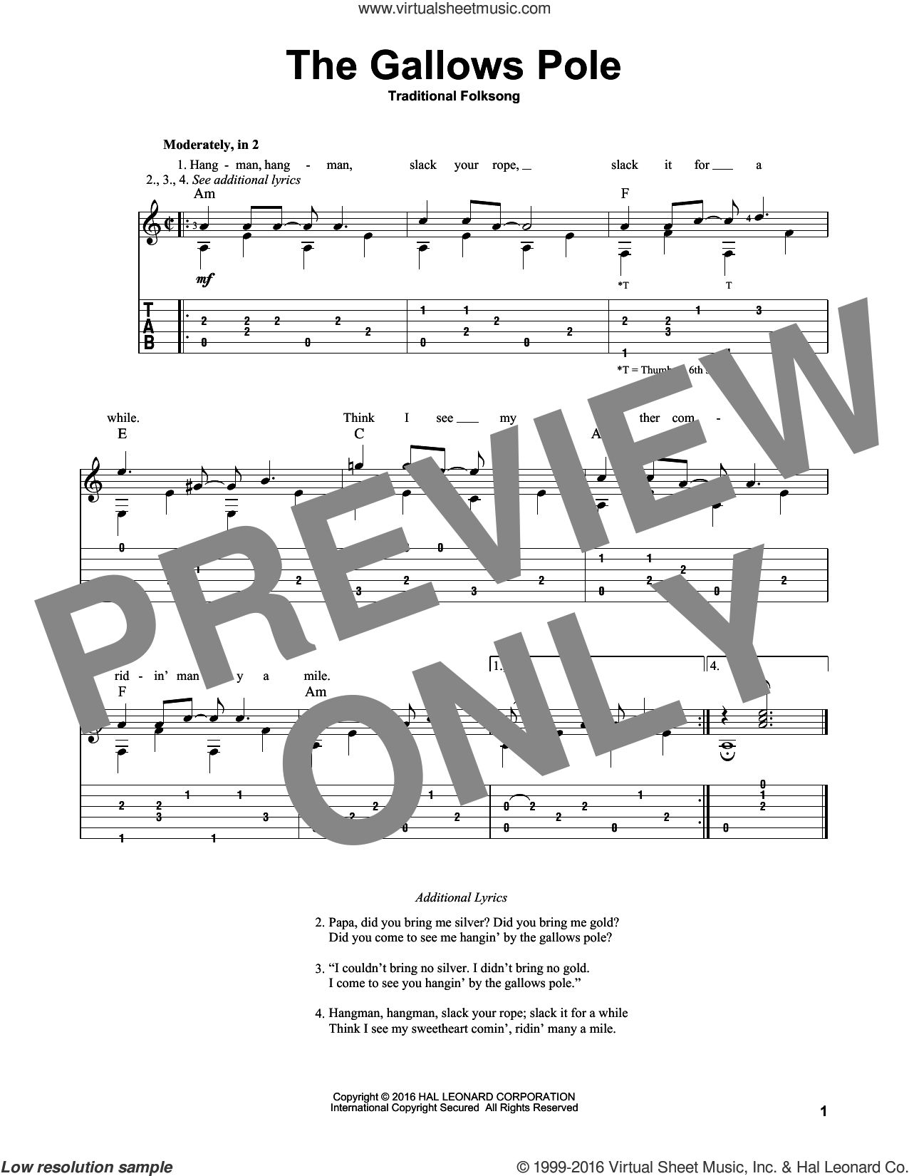 The Gallows Pole sheet music for guitar solo, intermediate. Score Image Preview.