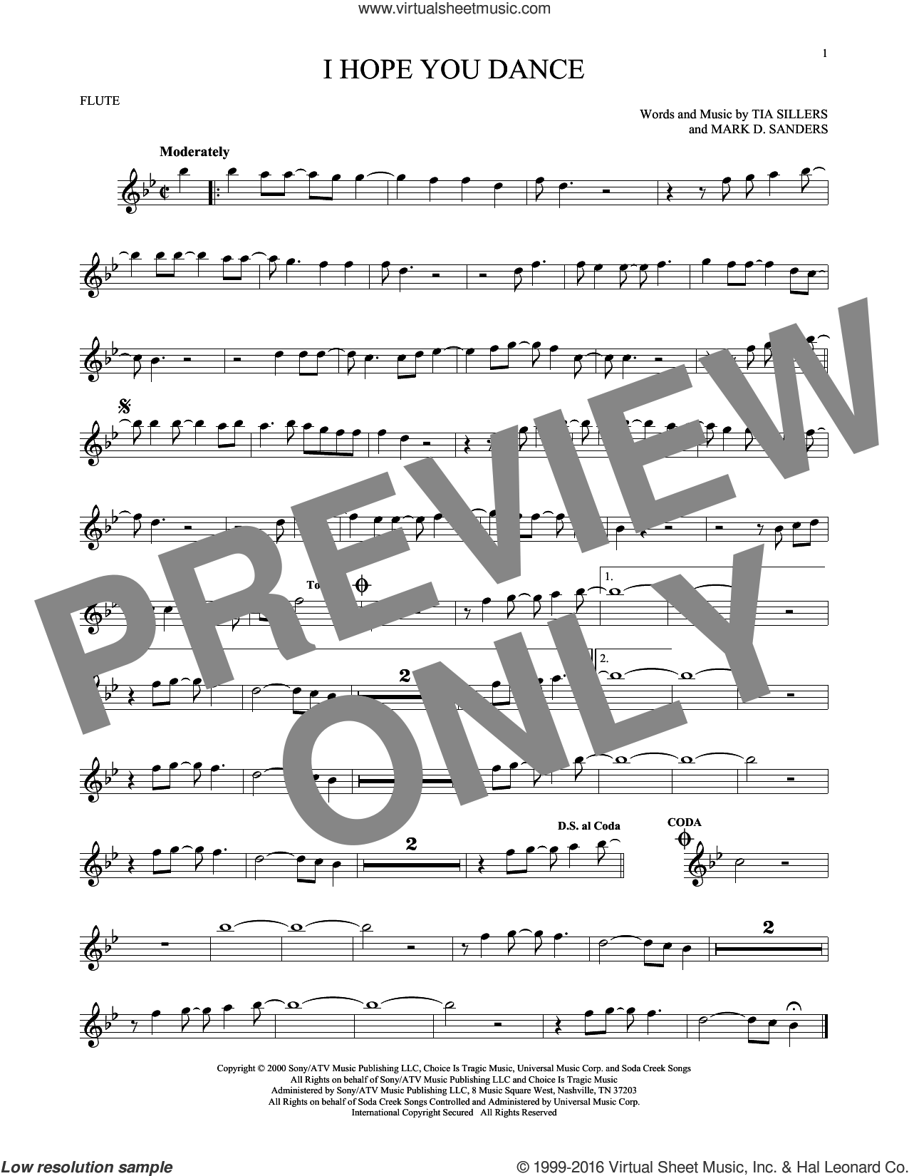 I Hope You Dance sheet music for flute solo by Lee Ann Womack with Sons of the Desert and Mark D. Sanders, intermediate. Score Image Preview.