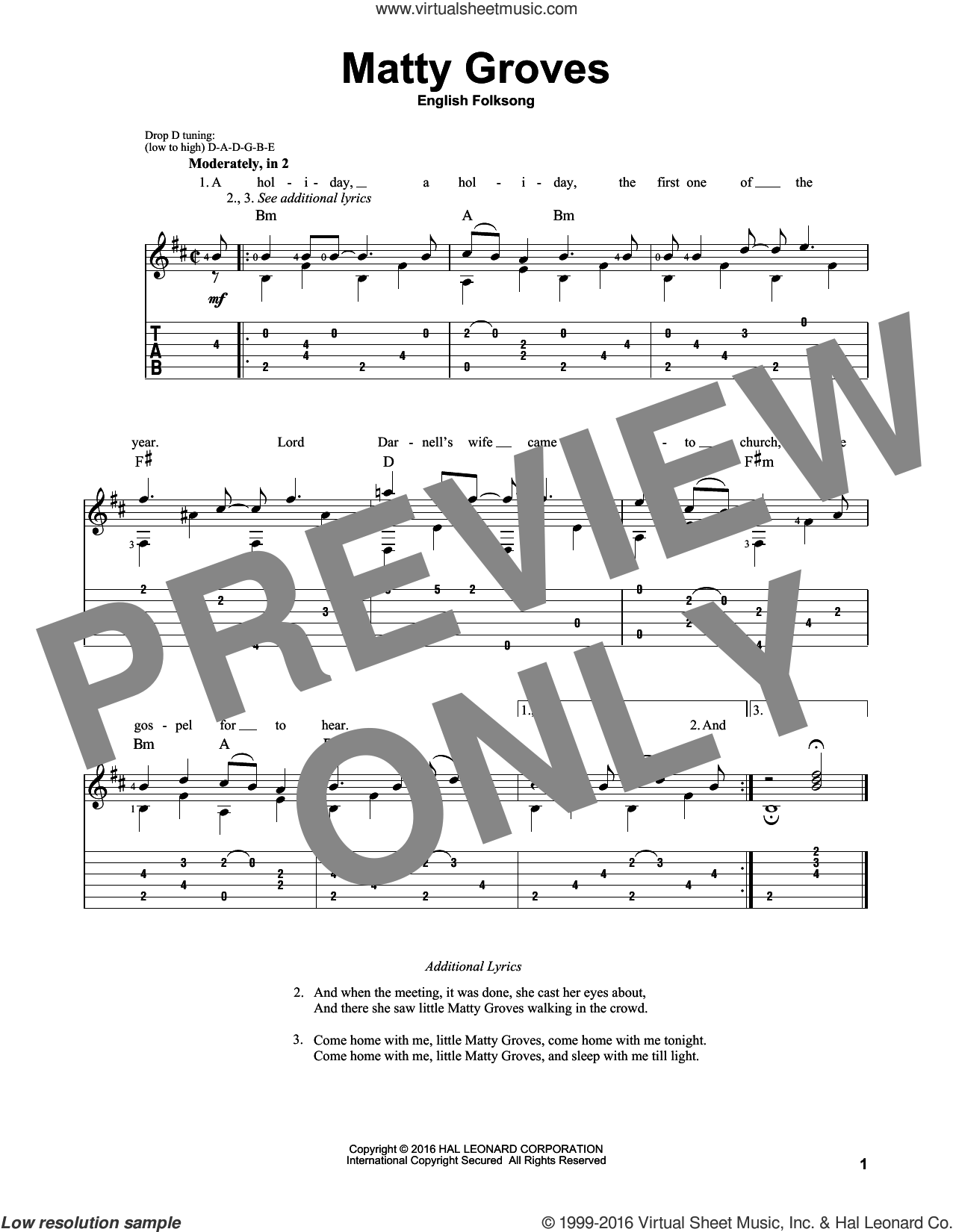 Matty Groves sheet music for guitar solo, intermediate guitar. Score Image Preview.