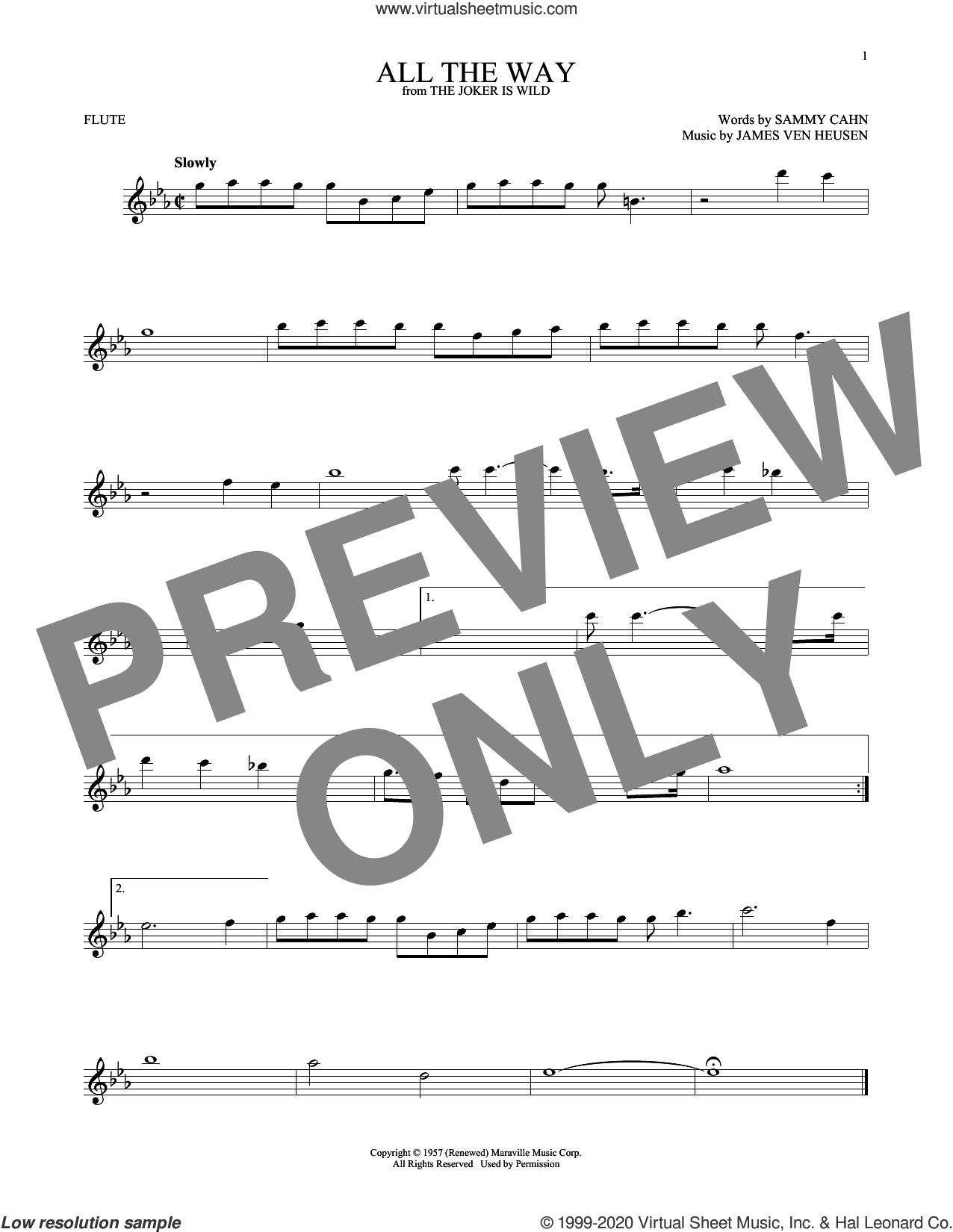 All The Way sheet music for flute solo by Frank Sinatra, Kenny G, Jimmy van Heusen and Sammy Cahn, intermediate skill level