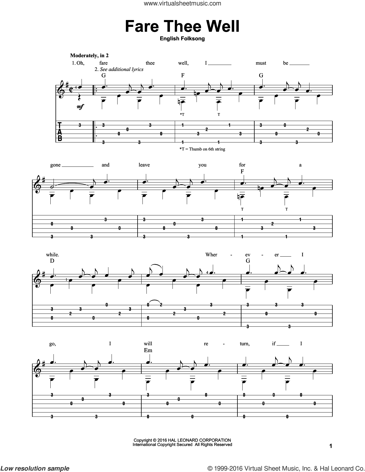 Fare Thee Well sheet music for guitar solo. Score Image Preview.