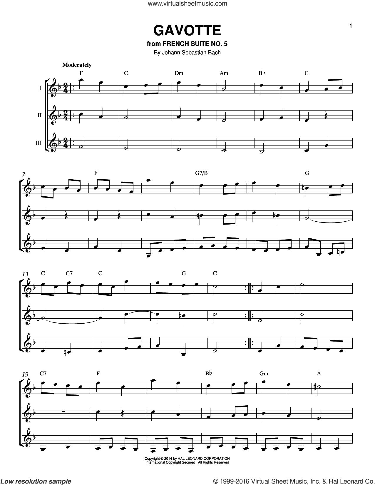 Gavotte sheet music for guitar ensemble by Johann Sebastian Bach, classical score, intermediate skill level
