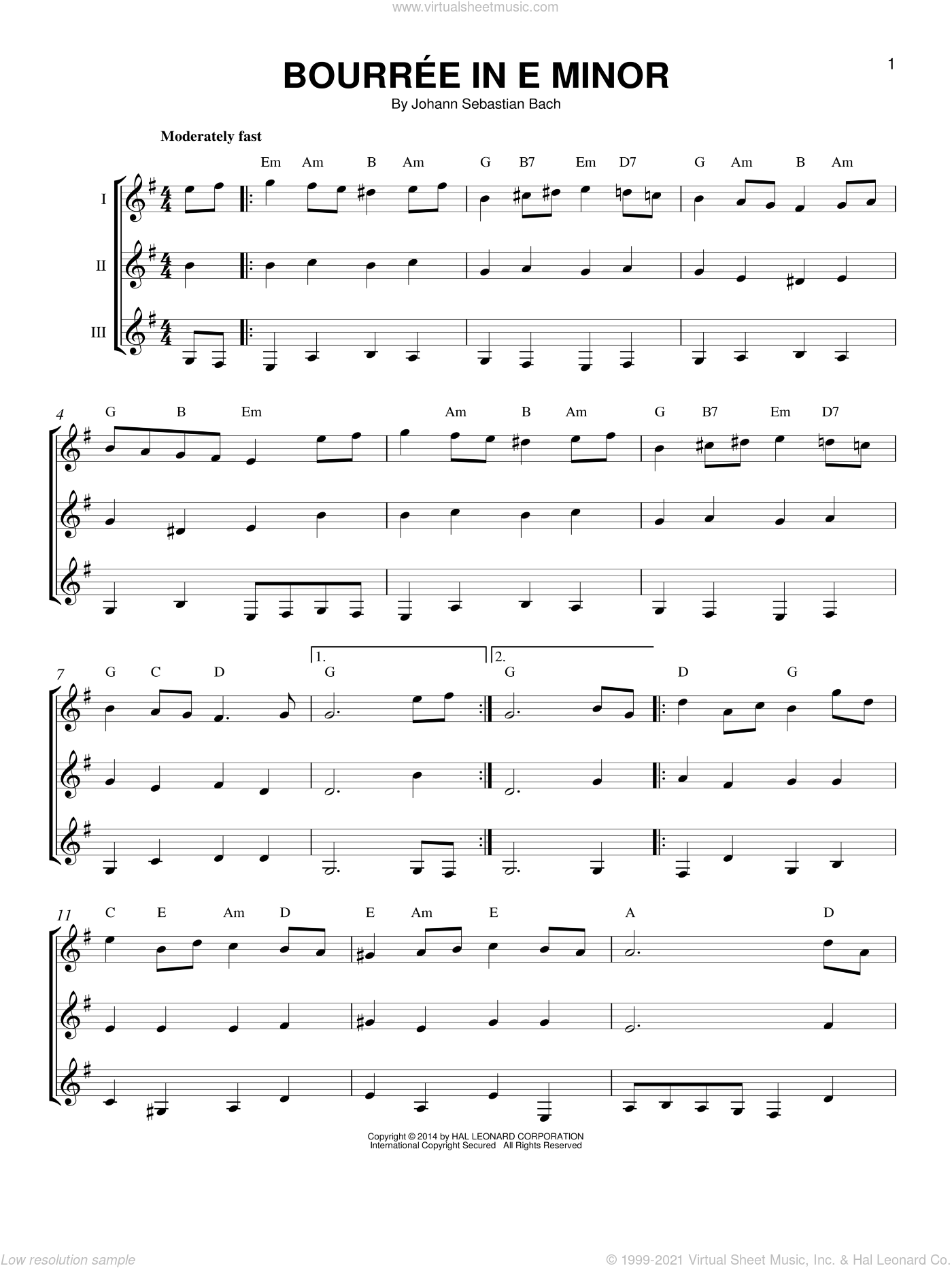 Bourree In E Minor sheet music for guitar ensemble by Johann Sebastian Bach. Score Image Preview.