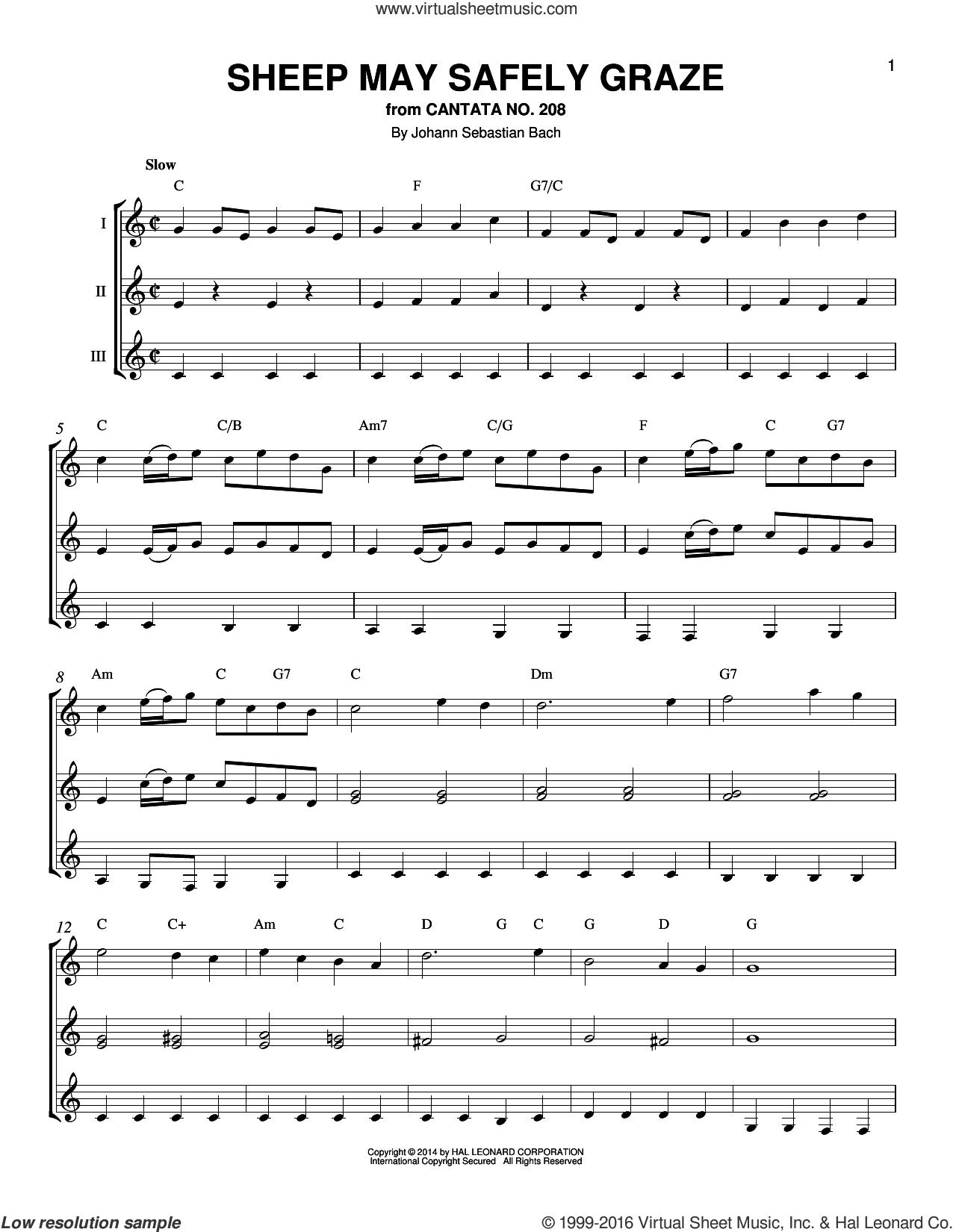 Sheep May Safely Graze sheet music for guitar ensemble by Johann Sebastian Bach, classical score, intermediate skill level