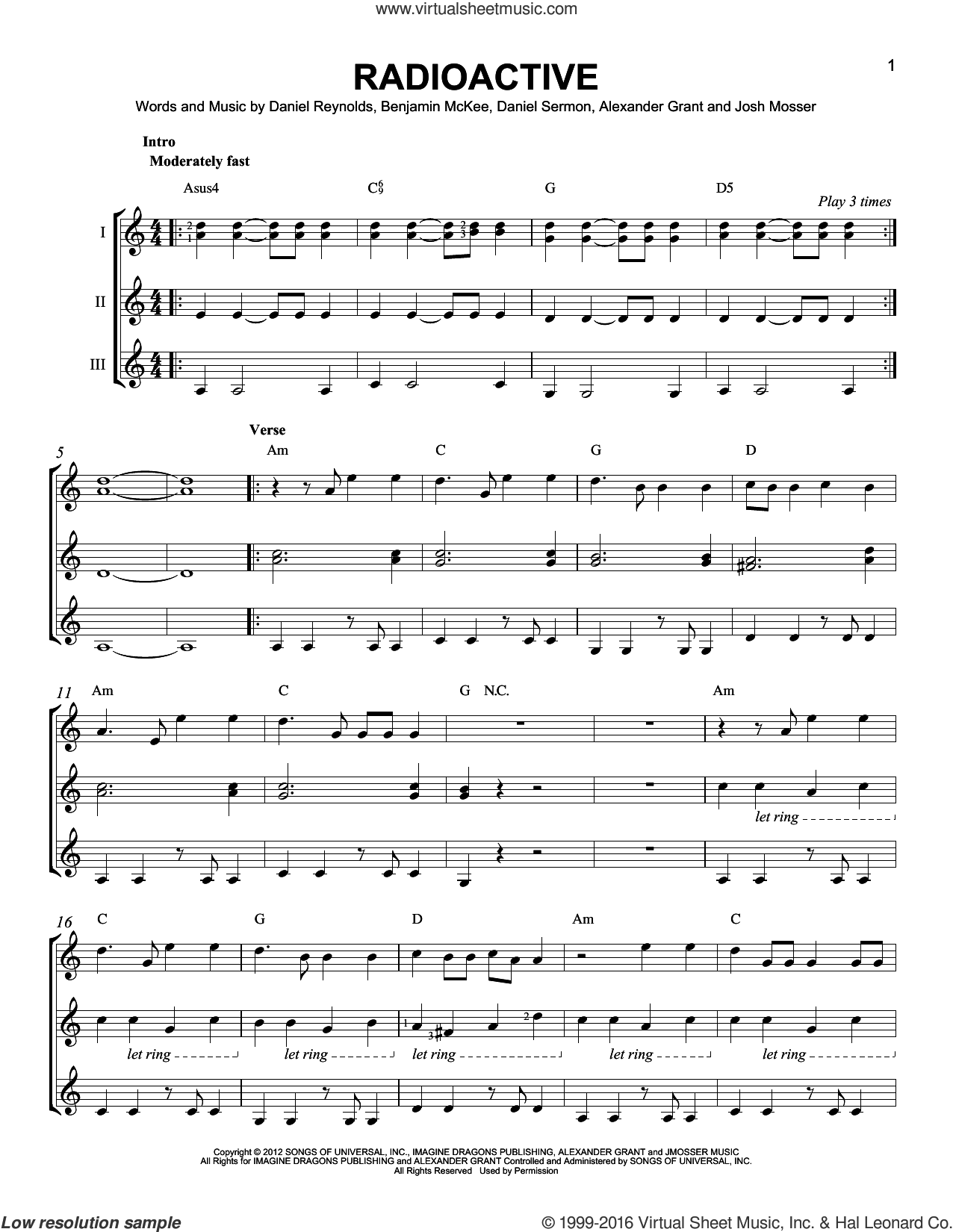 Radioactive sheet music for guitar ensemble by Josh Mosser, Imagine Dragons, Alexander Grant, Daniel Reynolds and Daniel Sermon. Score Image Preview.
