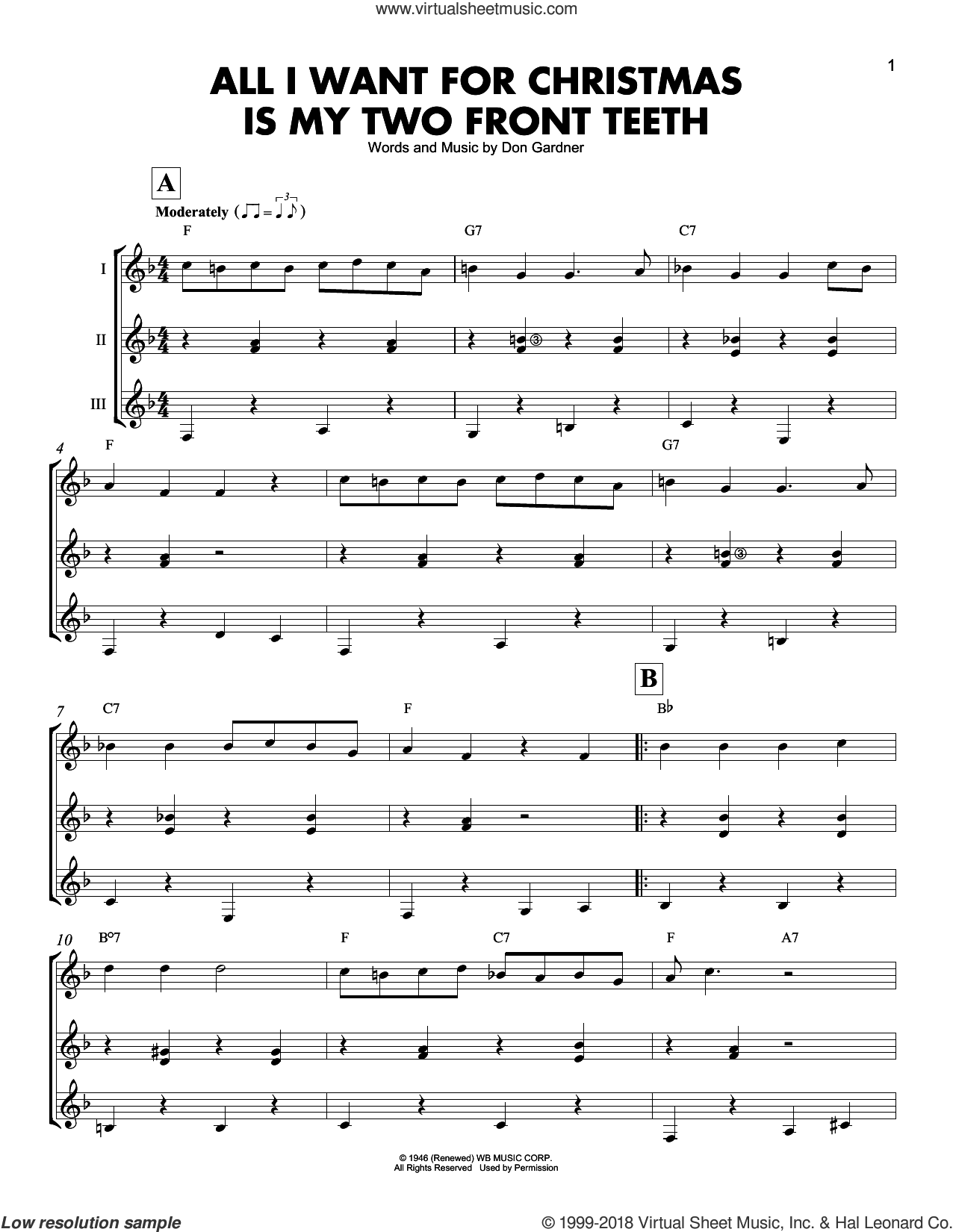 All I Want For Christmas Is My Two Front Teeth sheet music for guitar ensemble by Spike Jones & the City Slickers and Don Gardner, intermediate skill level