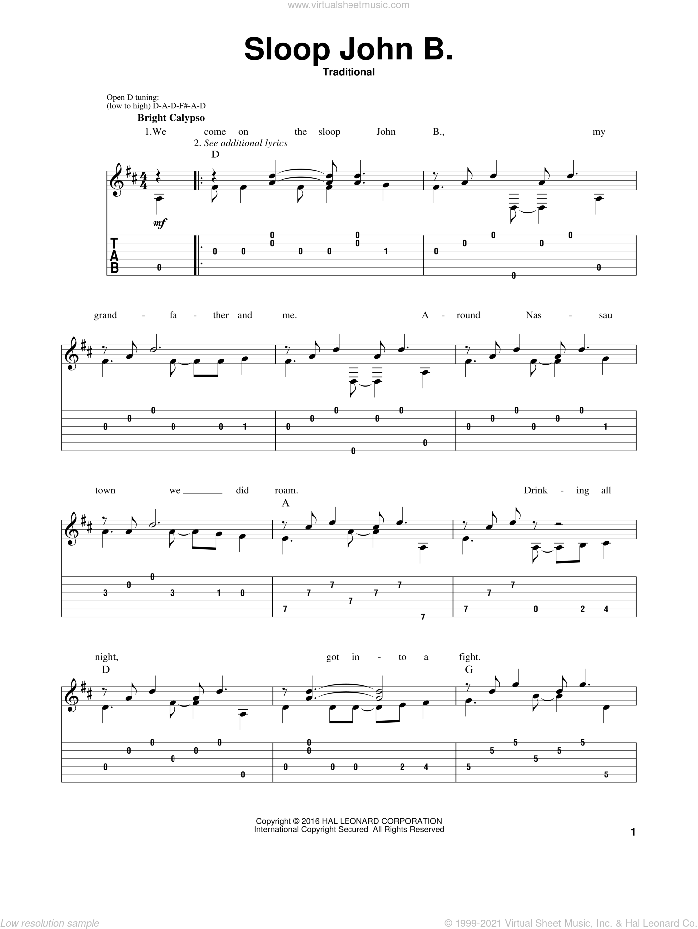 Sloop John B. sheet music for guitar solo. Score Image Preview.