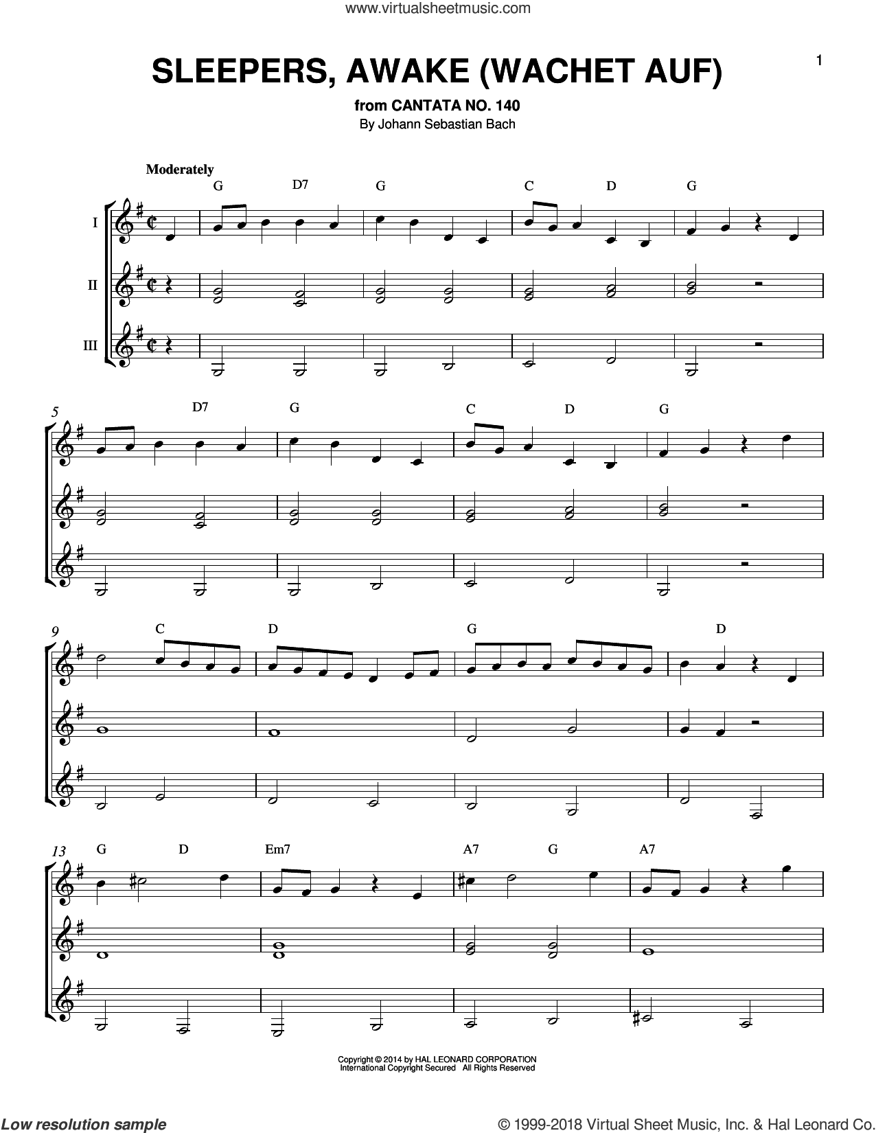 Sleepers, Awake (Wachet Auf) sheet music for guitar ensemble by Johann Sebastian Bach, classical score, intermediate skill level