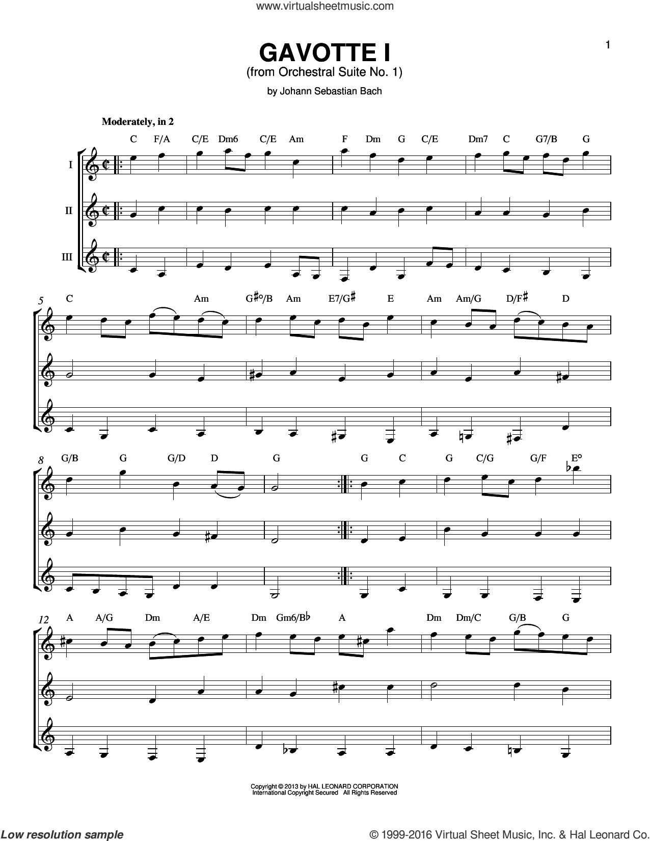Gavotte 1 sheet music for guitar ensemble by Johann Sebastian Bach, classical score, intermediate skill level
