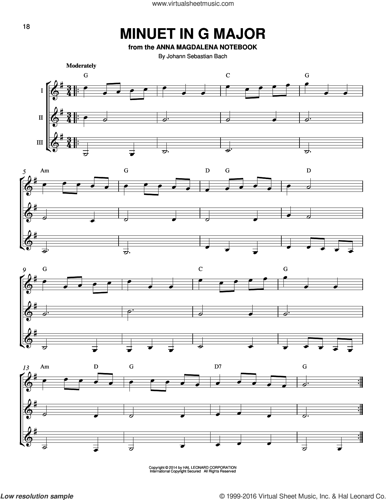 Minuet In G sheet music for guitar ensemble by Johann Sebastian Bach, classical score, intermediate skill level