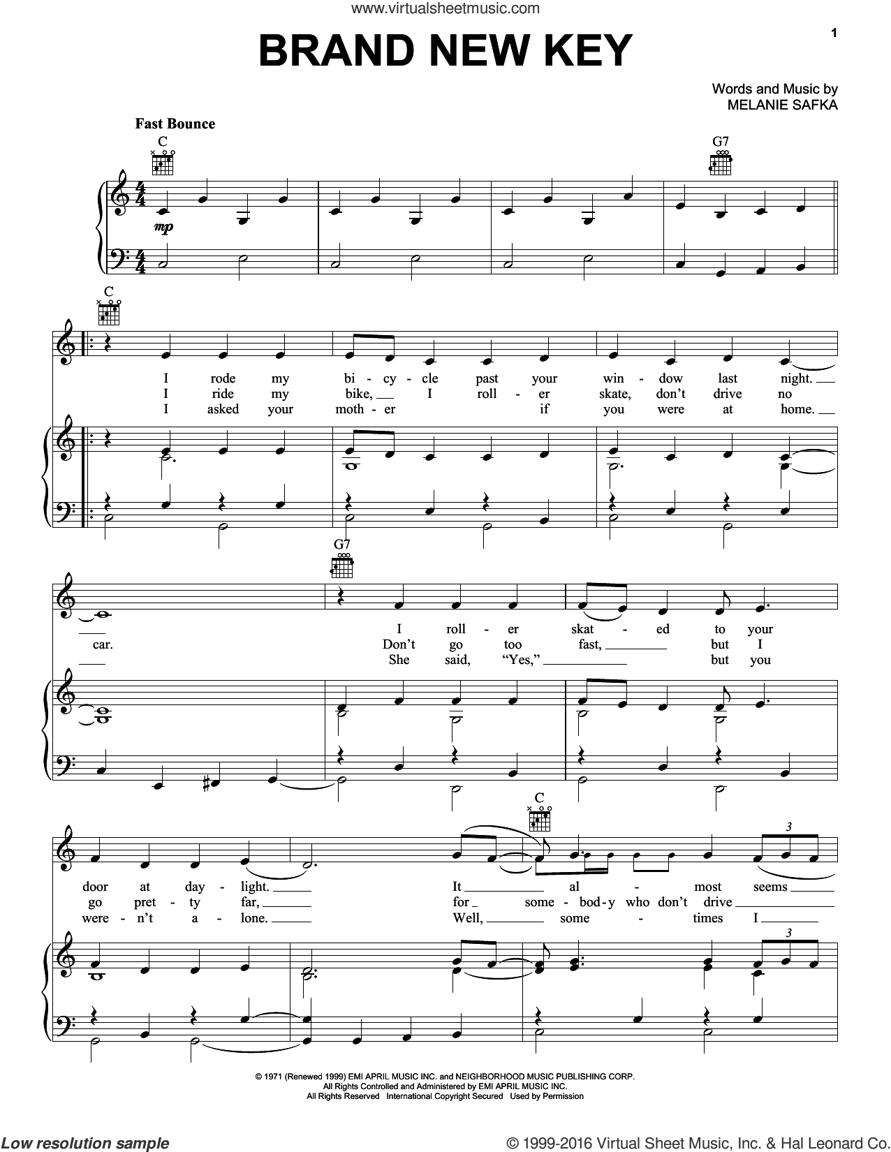 Brand New Key sheet music for voice, piano or guitar by Melanie and Melanie Safka, intermediate skill level