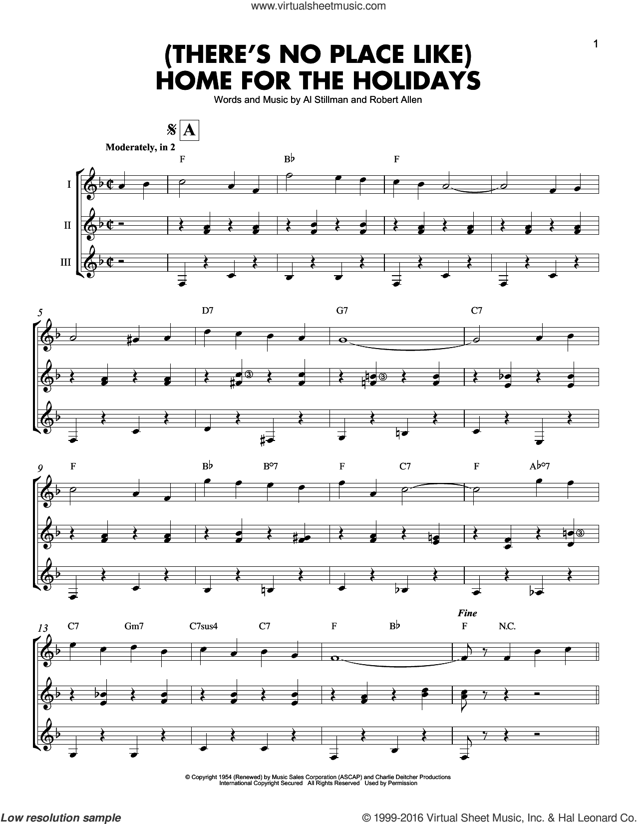 (There's No Place Like) Home For The Holidays sheet music for guitar ensemble by Perry Como, Al Stillman and Robert Allen, intermediate skill level