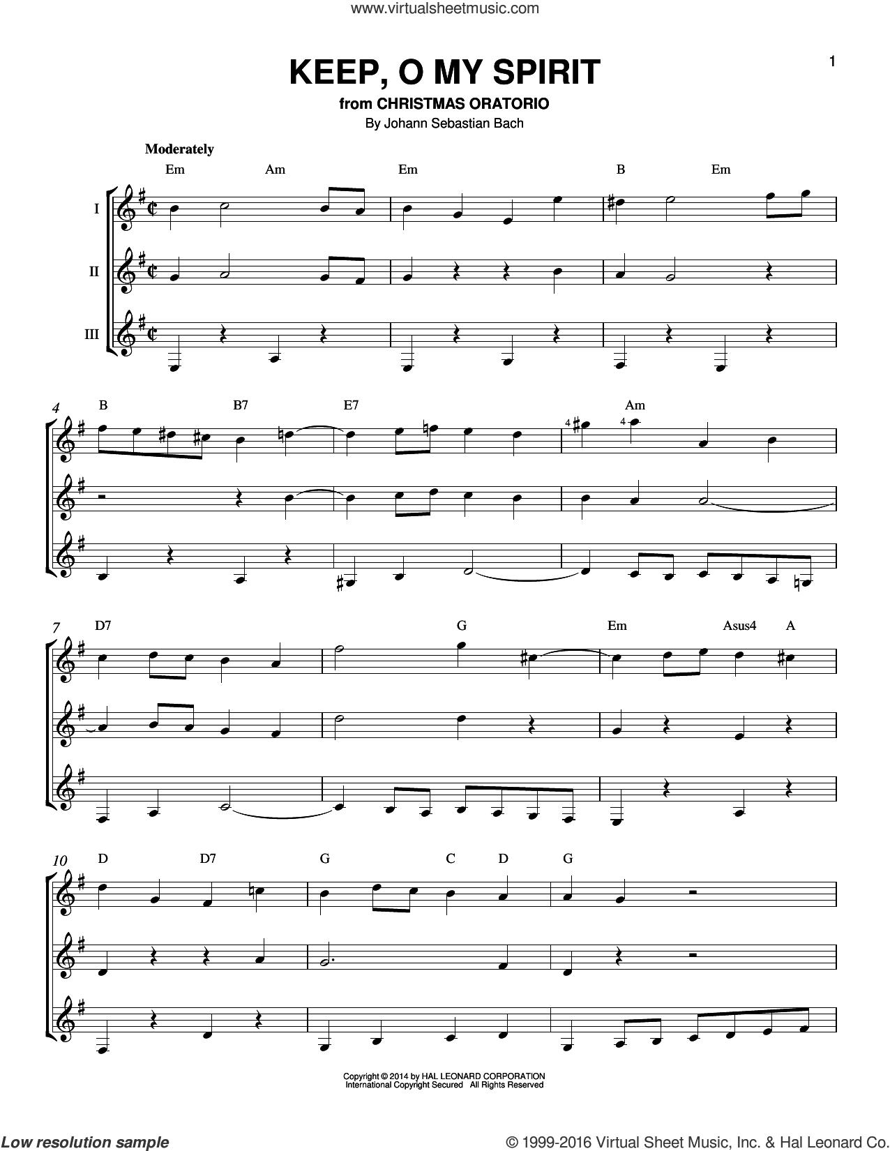Keep, O My Spirit sheet music for guitar ensemble by Johann Sebastian Bach, classical score, intermediate skill level