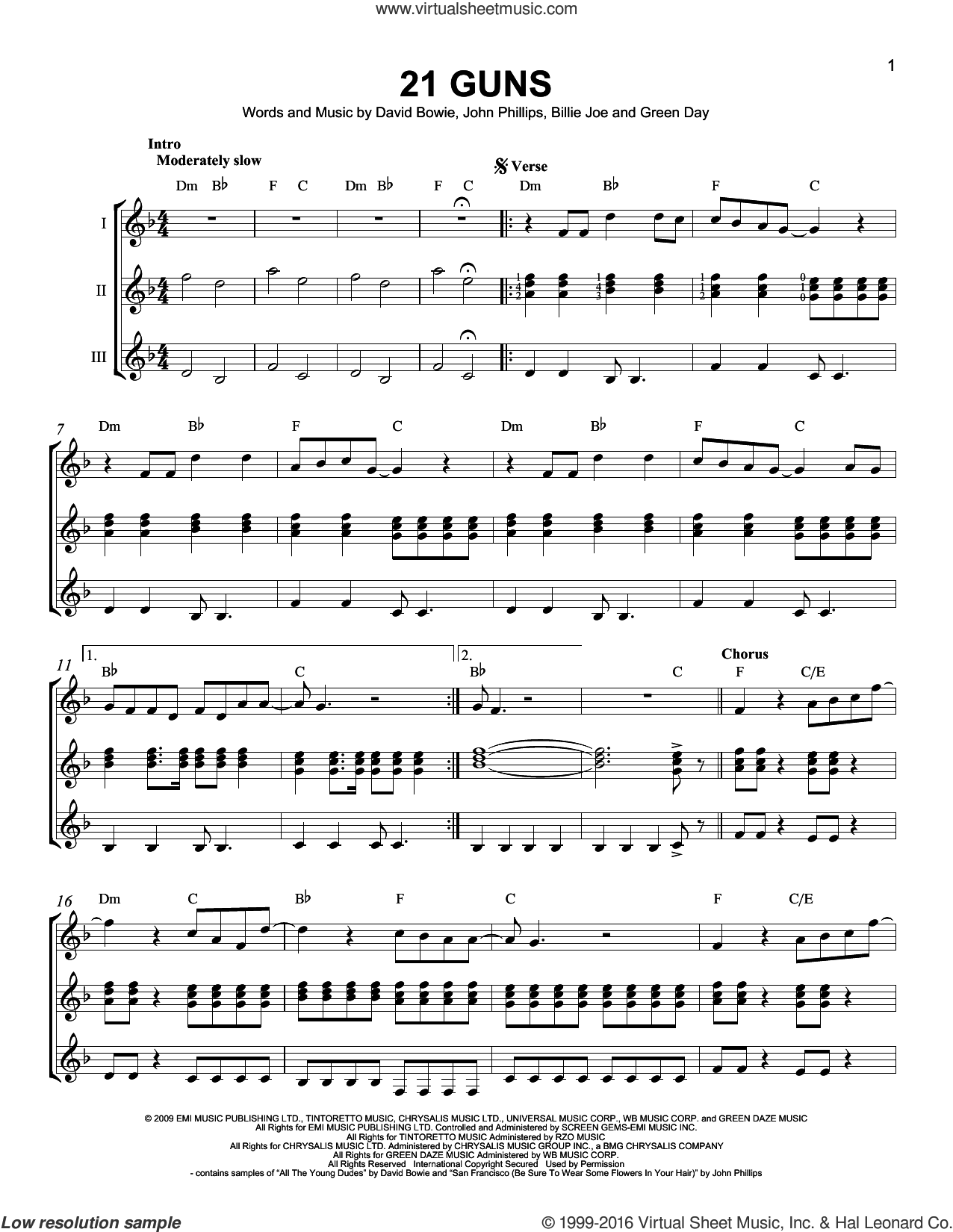 21 Guns sheet music for guitar ensemble by Green Day, Billie Joe, David Bowie and John Phillips, intermediate skill level