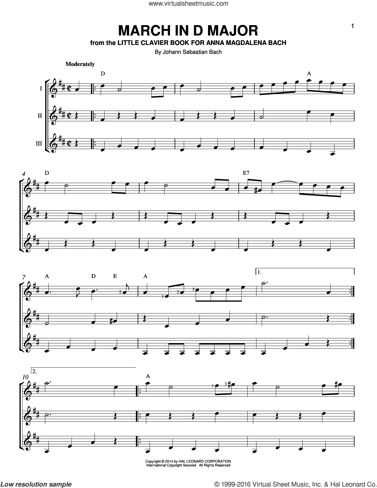 March In D Major sheet music for guitar ensemble by Johann Sebastian Bach, classical score, intermediate. Score Image Preview.